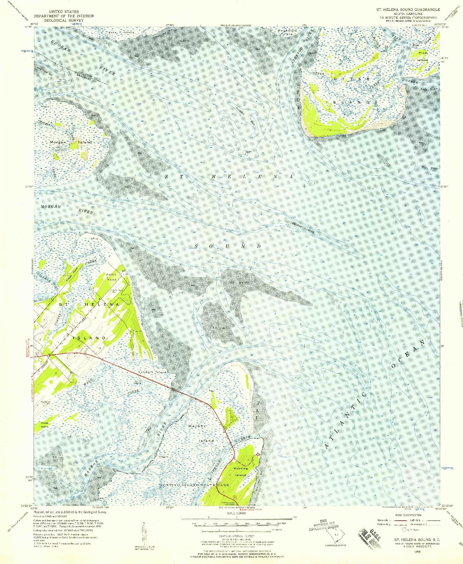 USGS 1:24000-SCALE QUADRANGLE FOR ST. HELENA SOUND, SC 1956