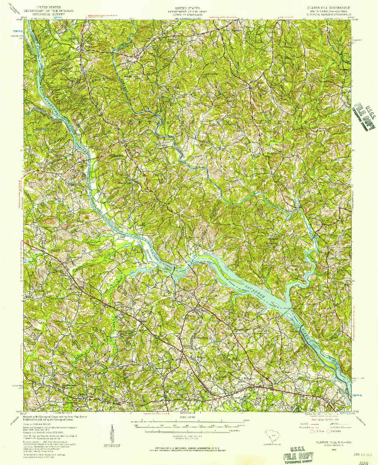 USGS 1:62500-SCALE QUADRANGLE FOR CLARKS HILL, SC 1941