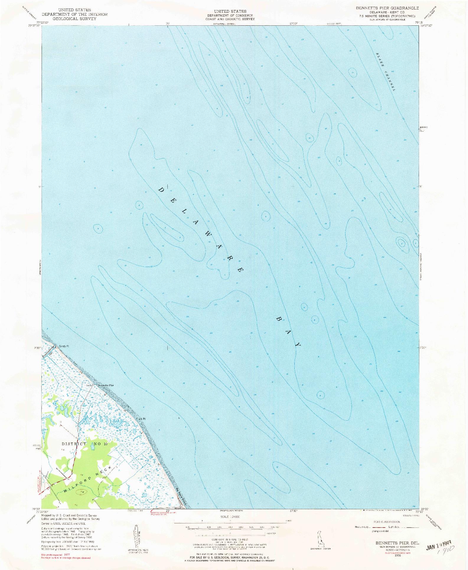 USGS 1:24000-SCALE QUADRANGLE FOR BENNETTS PIER, DE 1956