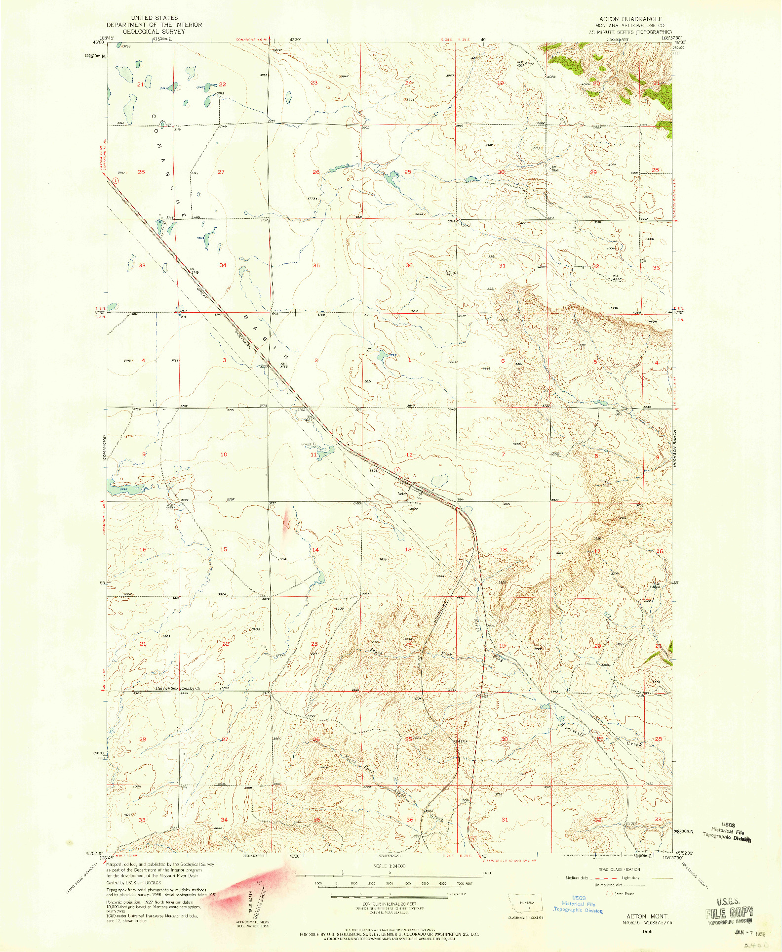 USGS 1:24000-SCALE QUADRANGLE FOR ACTON, MT 1956