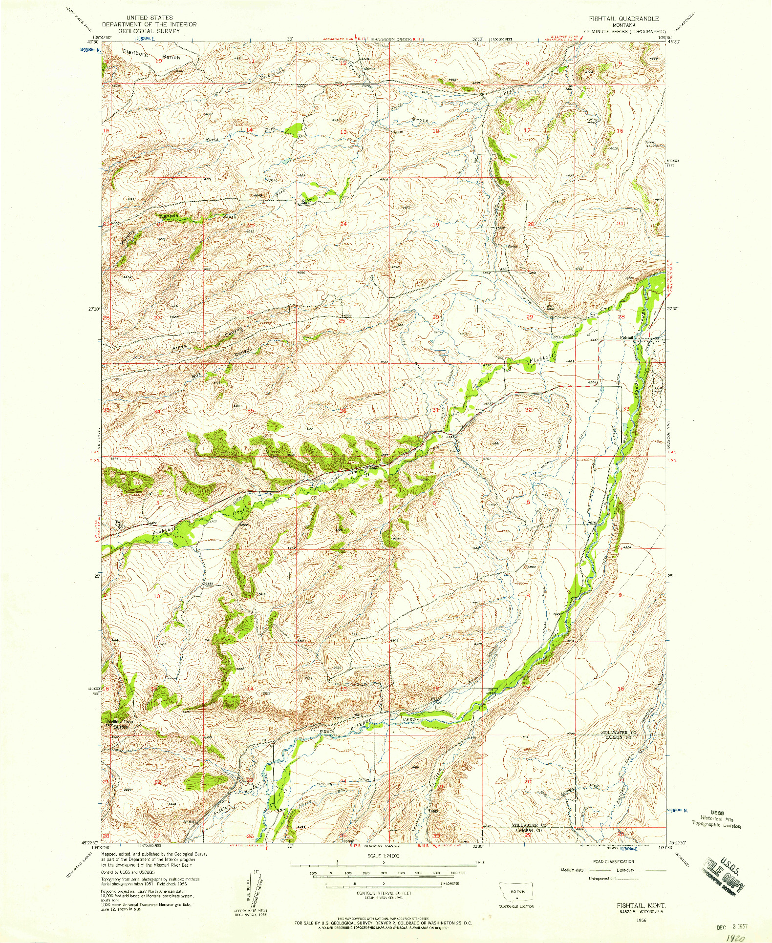 USGS 1:24000-SCALE QUADRANGLE FOR FISHTAIL, MT 1956