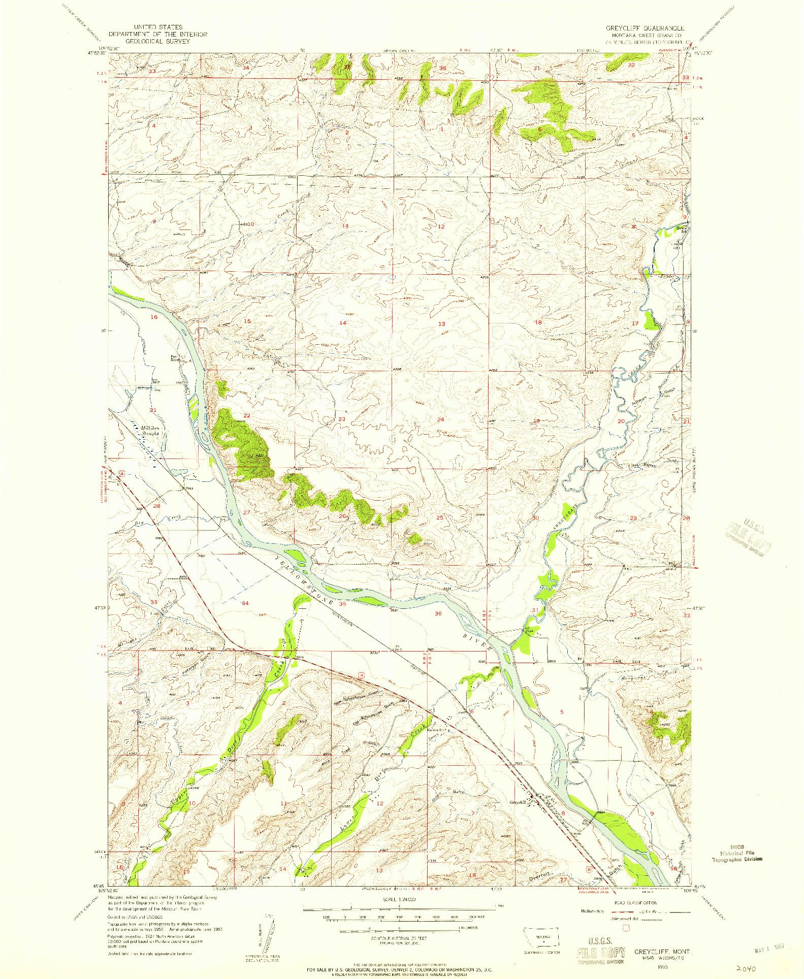 USGS 1:24000-SCALE QUADRANGLE FOR GREYCLIFF, MT 1955