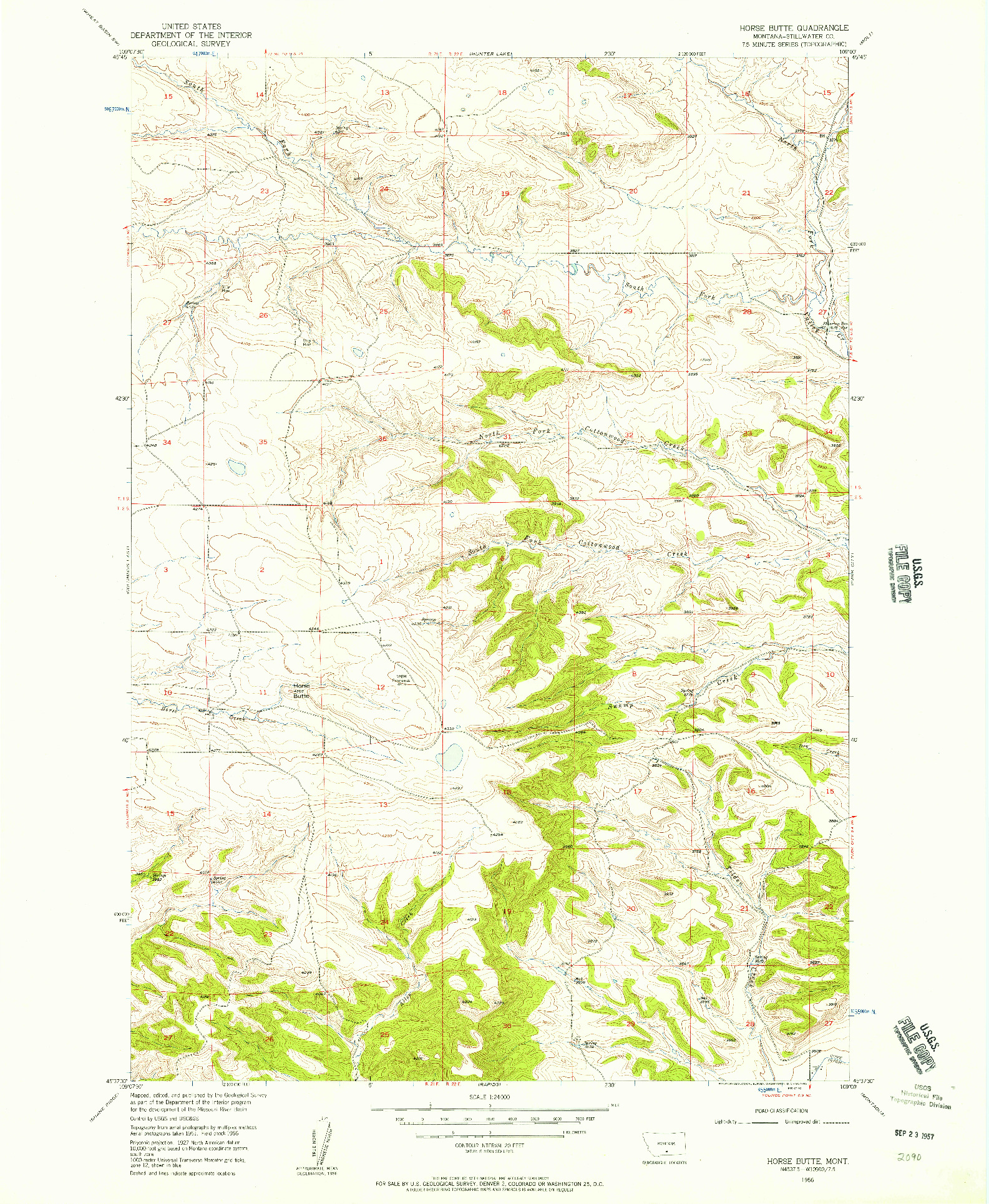 USGS 1:24000-SCALE QUADRANGLE FOR HORSE BUTTE, MT 1956