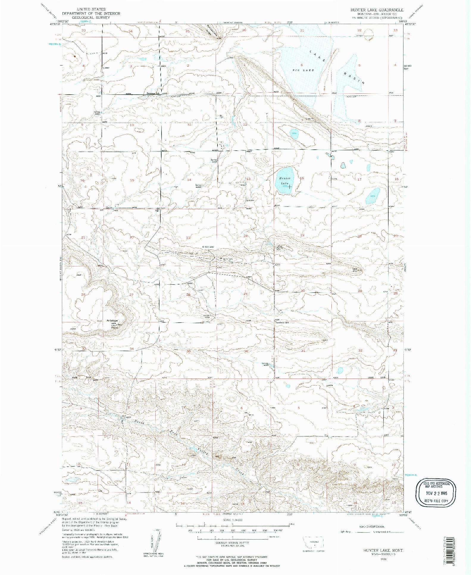 USGS 1:24000-SCALE QUADRANGLE FOR HUNTER LAKE, MT 1956