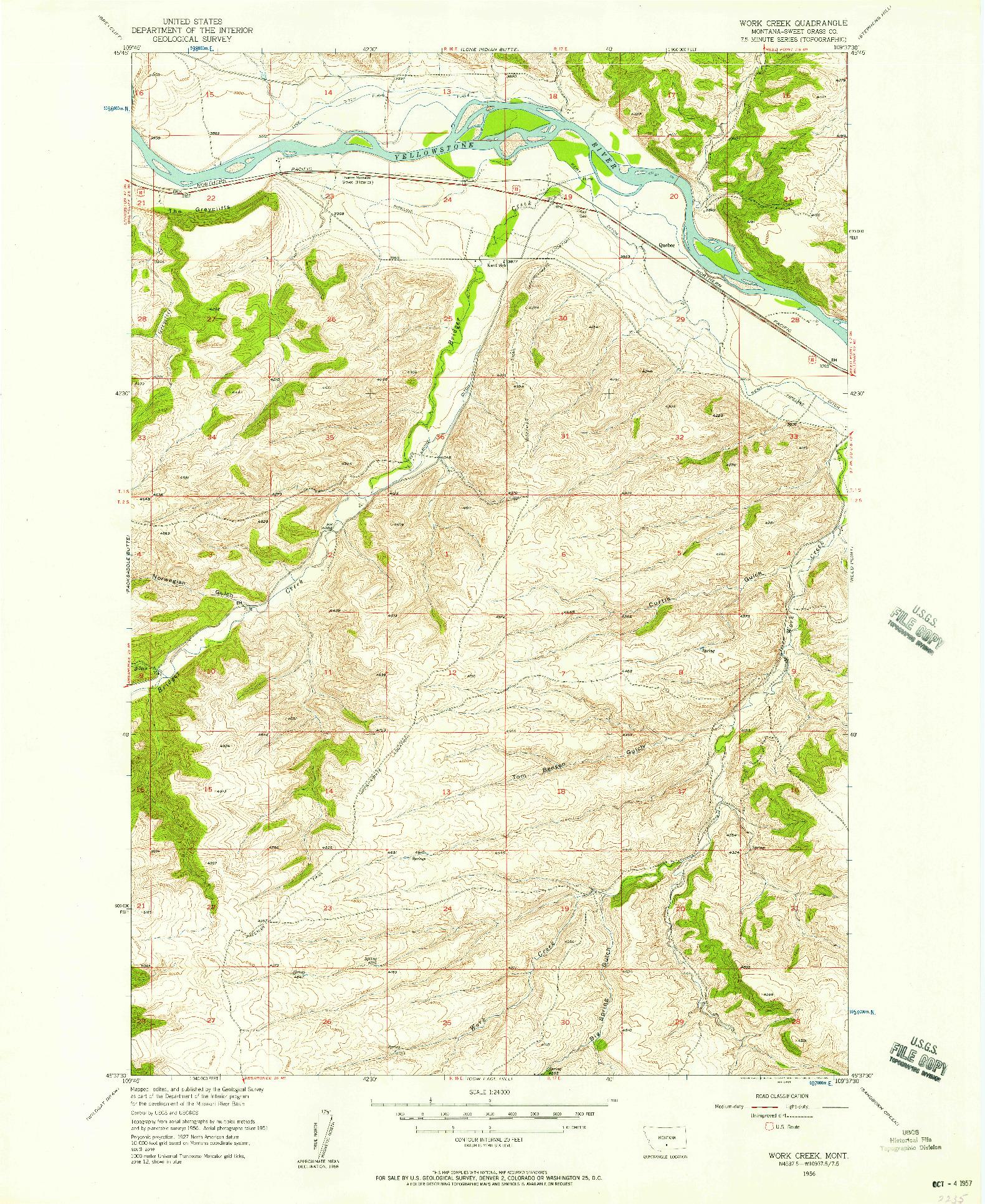 USGS 1:24000-SCALE QUADRANGLE FOR WORK CREEK, MT 1956