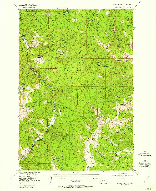 USGS 1:62500-SCALE QUADRANGLE FOR GARNET MOUNTAIN, MT 1955