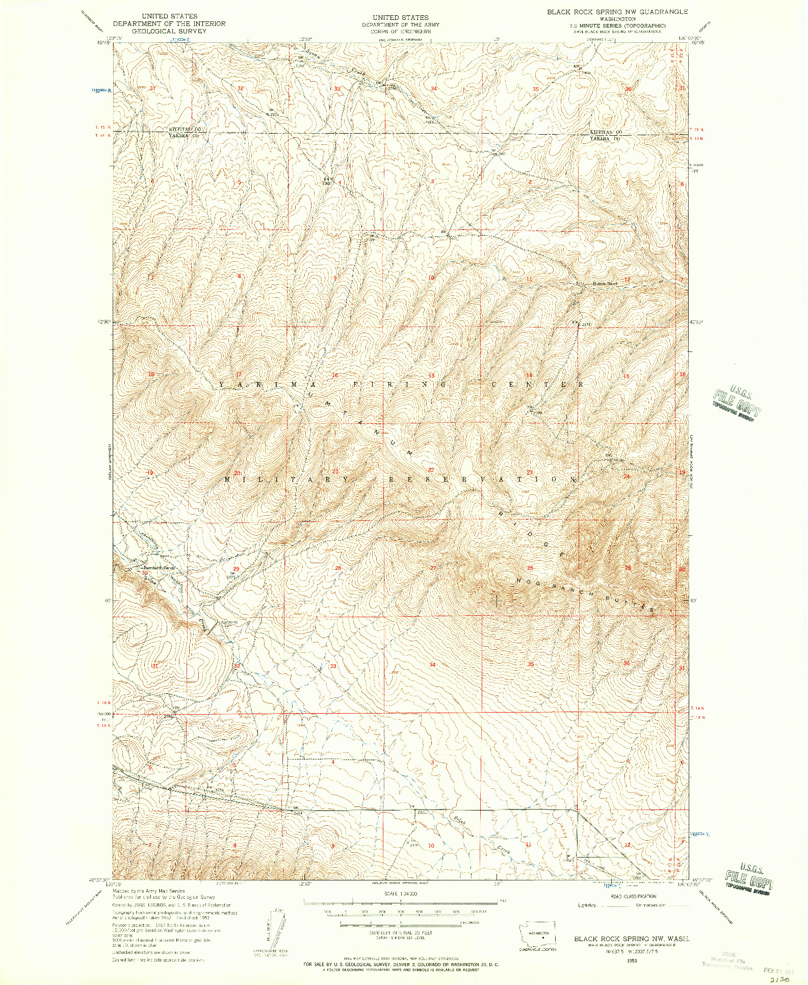 USGS 1:24000-SCALE QUADRANGLE FOR BLACK ROCK SPRING NW, WA 1953