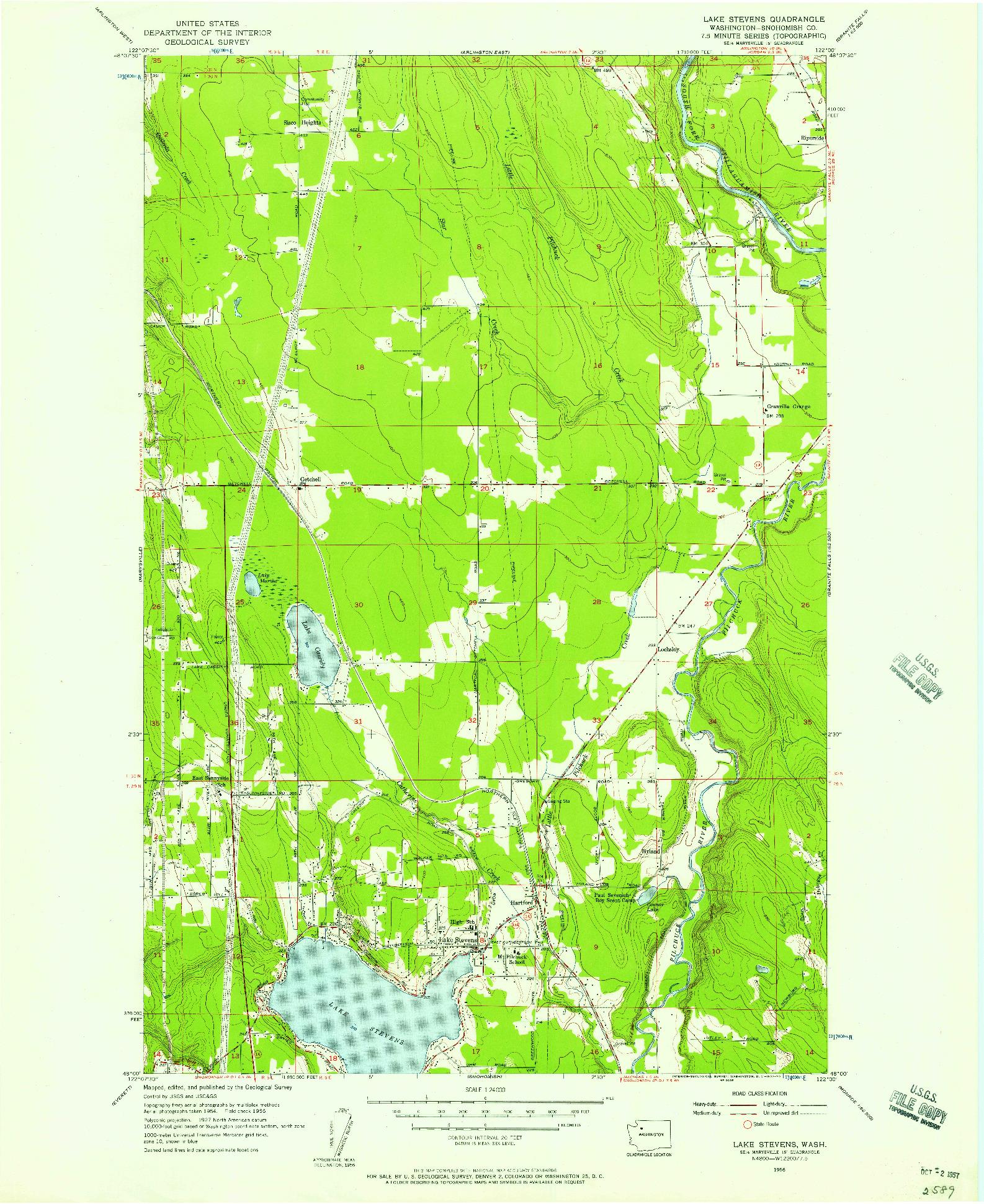 USGS 1:24000-SCALE QUADRANGLE FOR LAKE STEVENS, WA 1956