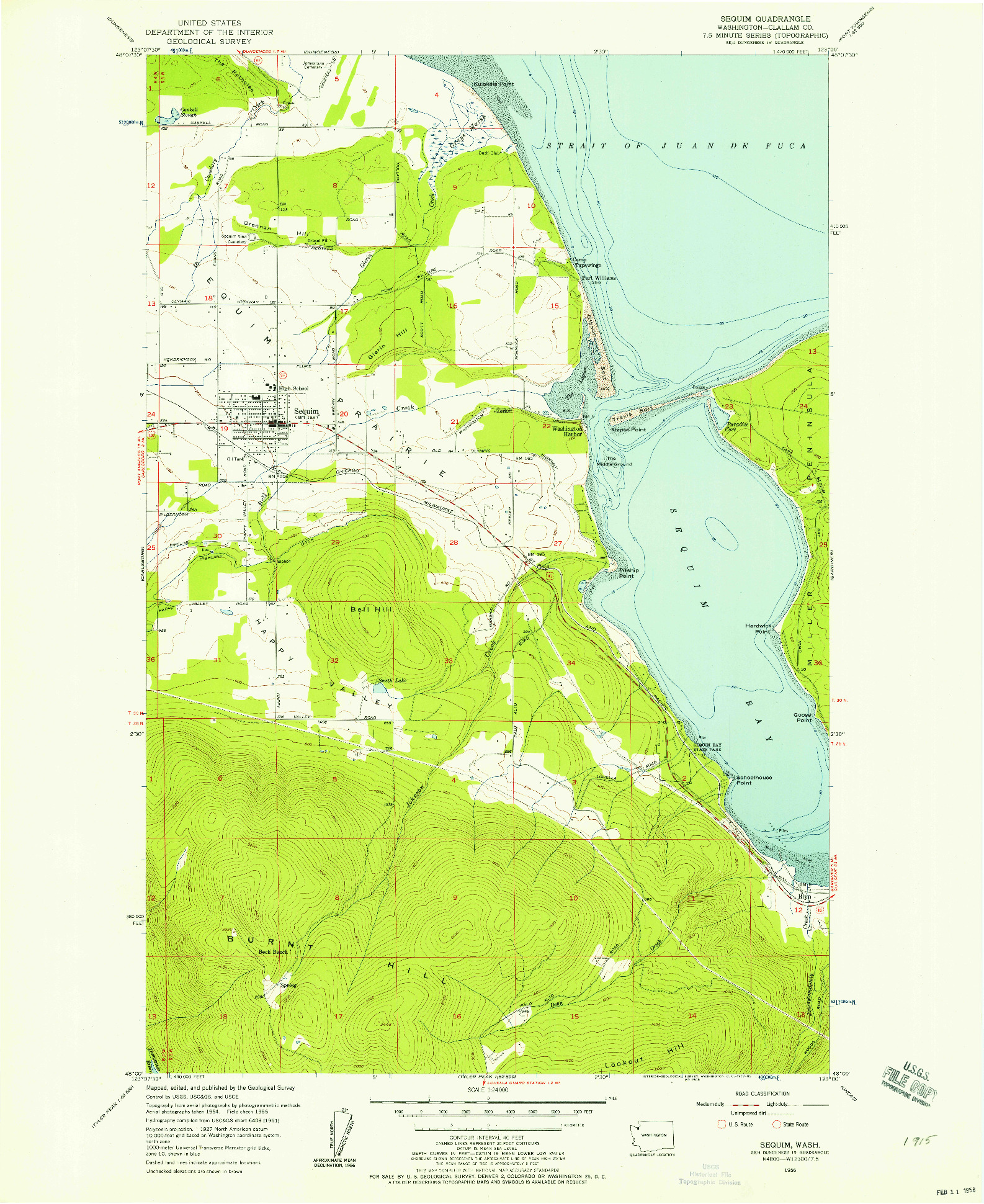 USGS 1:24000-SCALE QUADRANGLE FOR SEQUIM, WA 1956