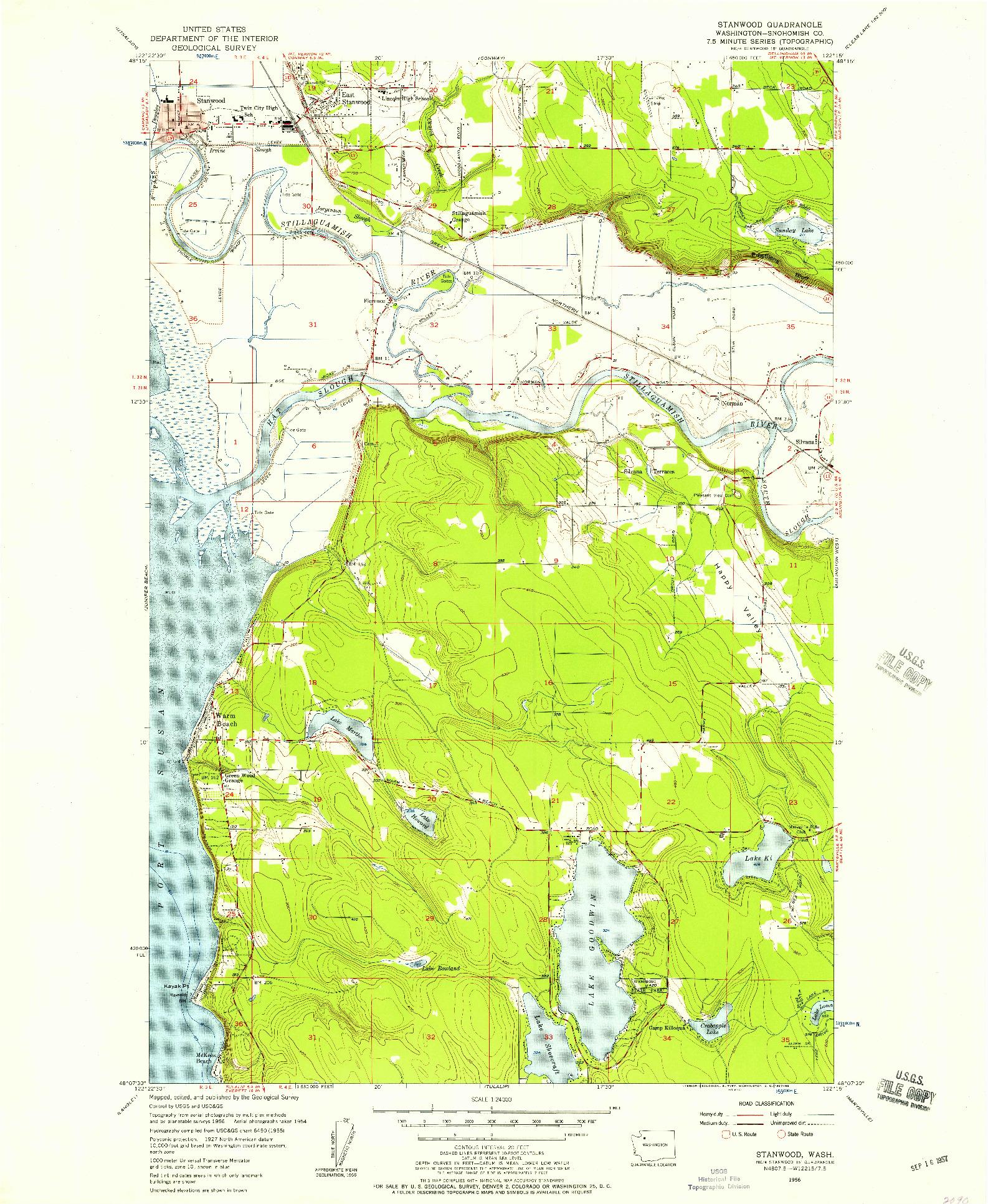 USGS 1:24000-SCALE QUADRANGLE FOR STANWOOD, WA 1956