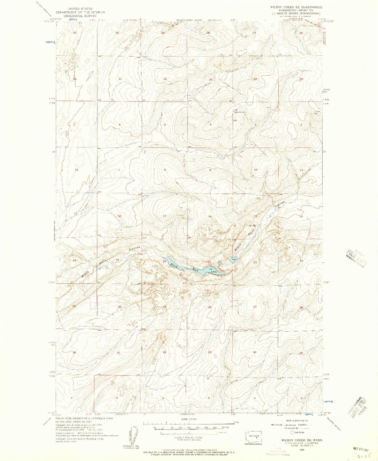 USGS 1:24000-SCALE QUADRANGLE FOR WILSON CREEK SE, WA 1956