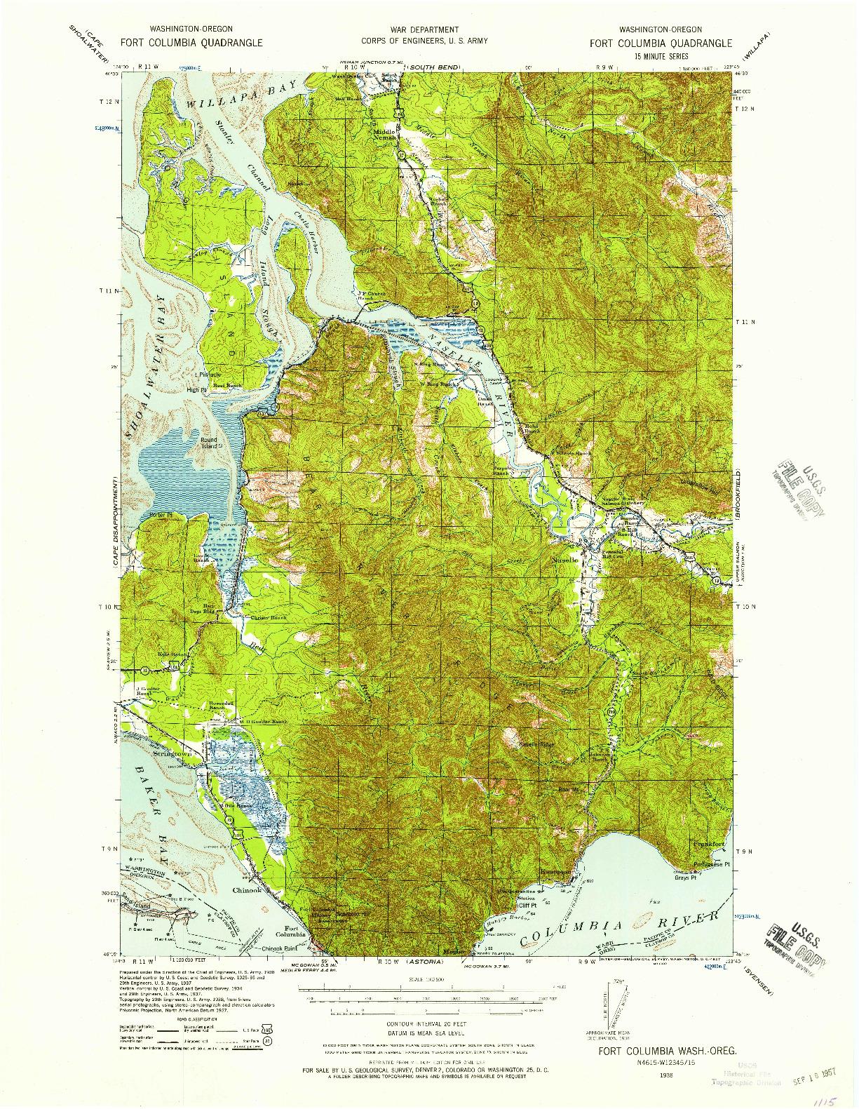 USGS 1:62500-SCALE QUADRANGLE FOR FORT COLUMBIA, WA 1938