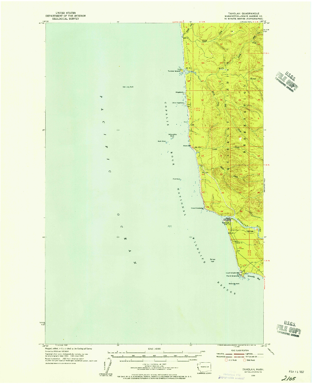 USGS 1:62500-SCALE QUADRANGLE FOR TAHOLAH, WA 1955