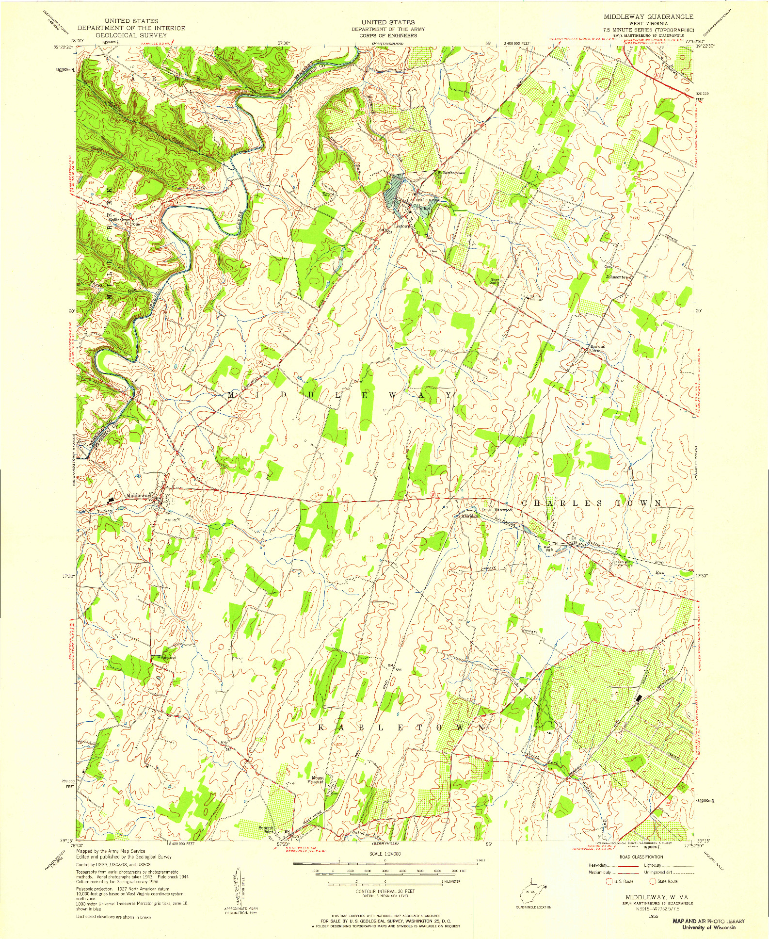 USGS 1:24000-SCALE QUADRANGLE FOR MIDDLEWAY, WV 1955