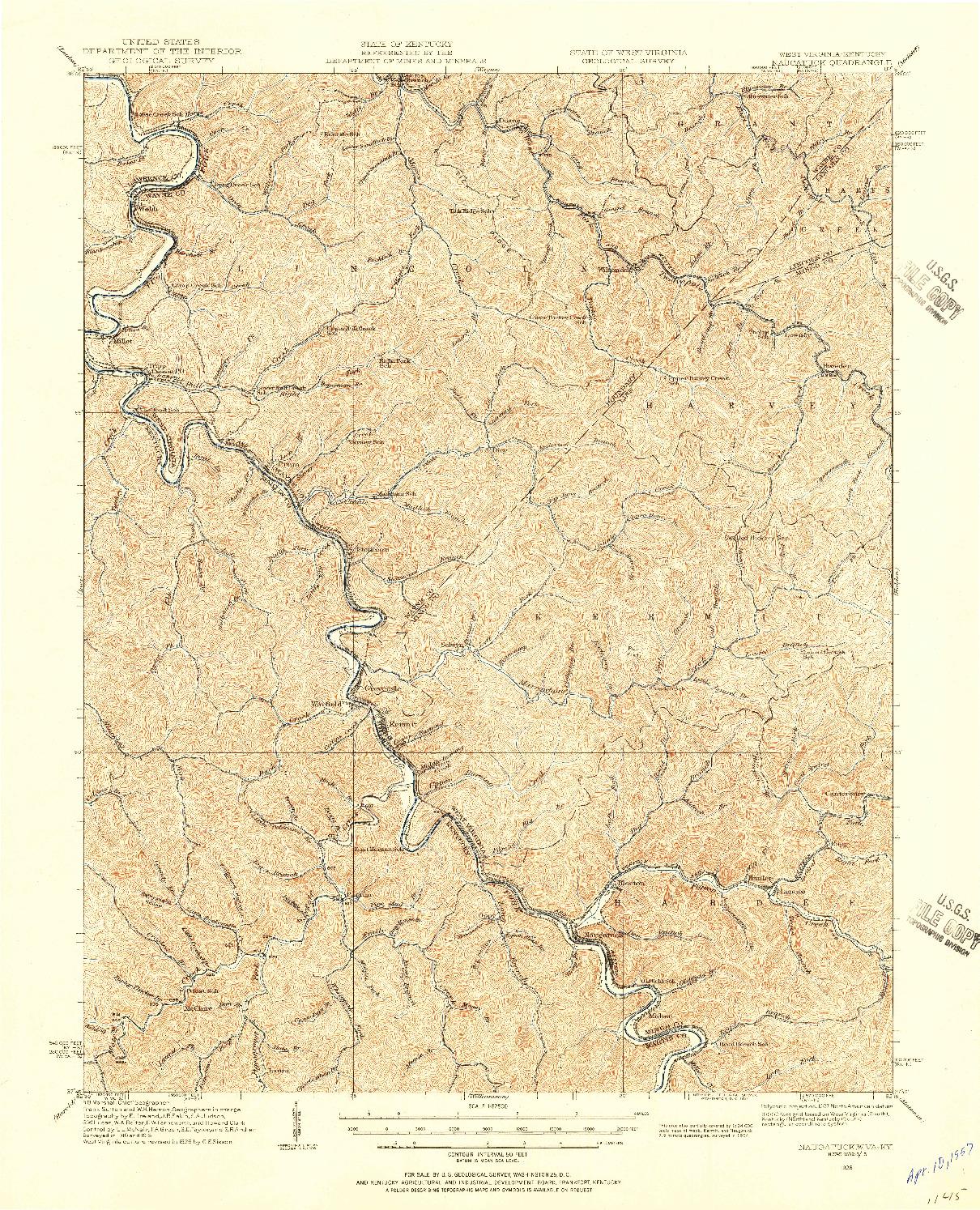 USGS 1:62500-SCALE QUADRANGLE FOR NAUGATUCK, WV 1926