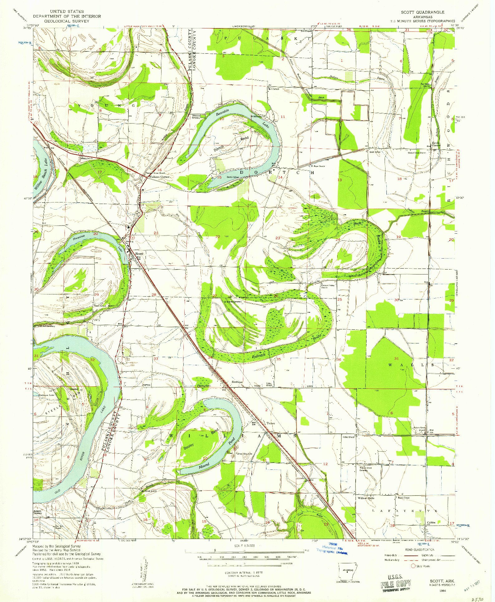 USGS 1:24000-SCALE QUADRANGLE FOR SCOTT, AR 1954