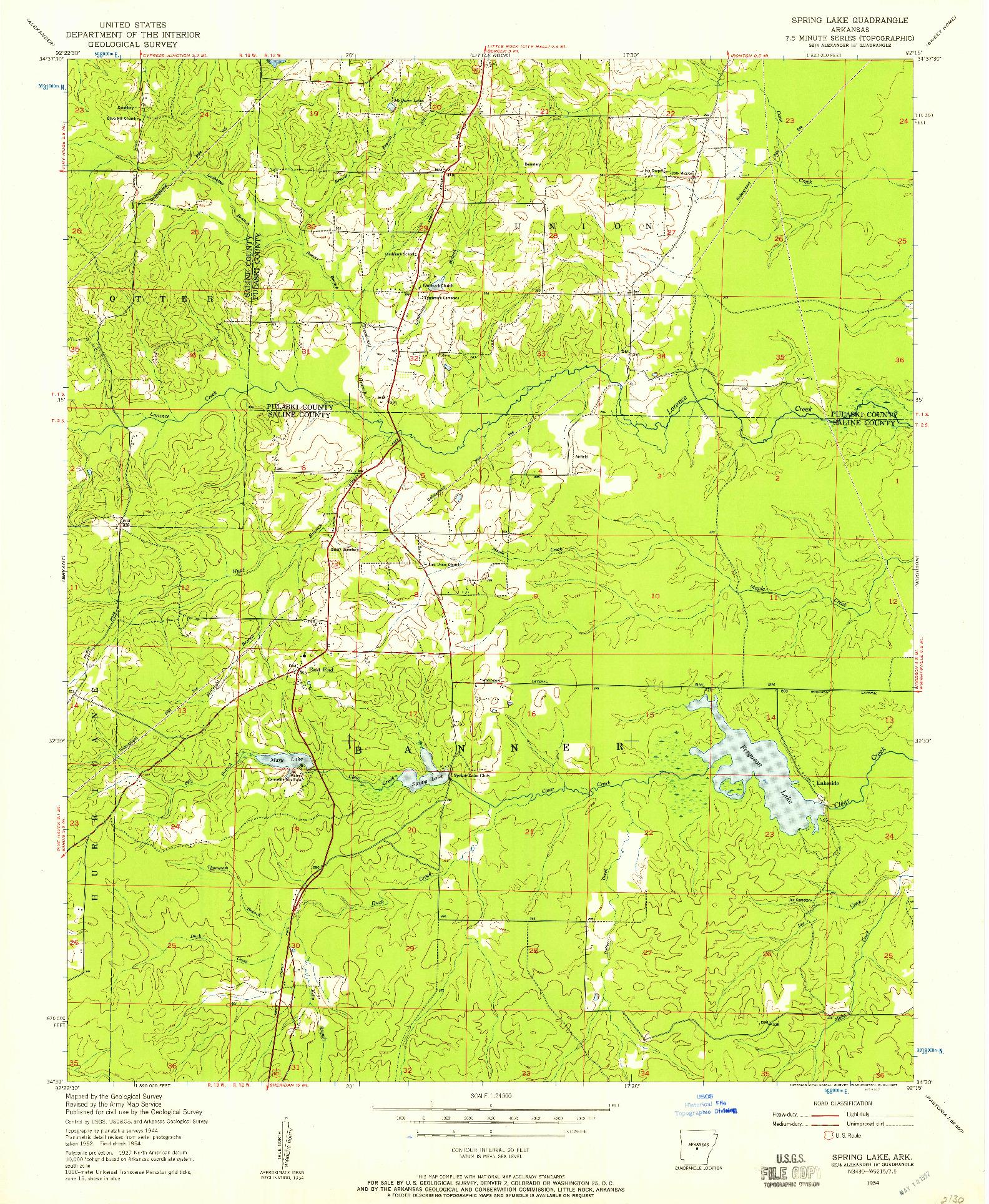 USGS 1:24000-SCALE QUADRANGLE FOR SPRING LAKE, AR 1954