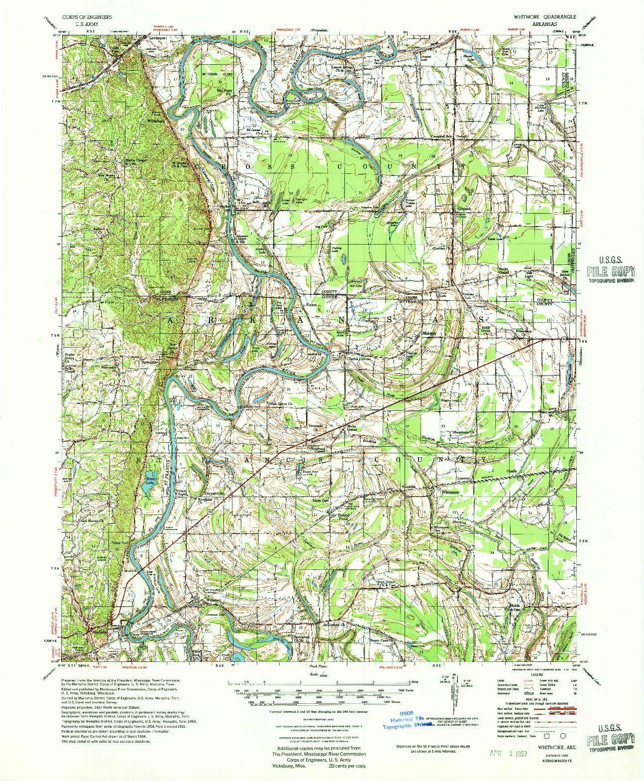 USGS 1:62500-SCALE QUADRANGLE FOR WHITMORE, AR 1956