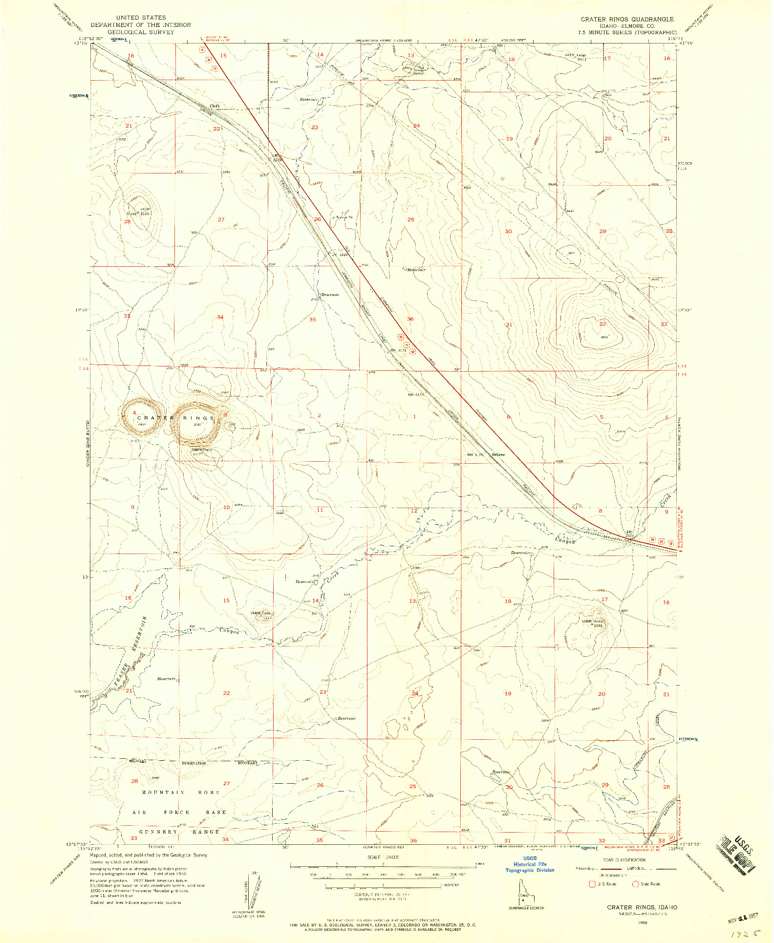 USGS 1:24000-SCALE QUADRANGLE FOR CRATER RINGS, ID 1956