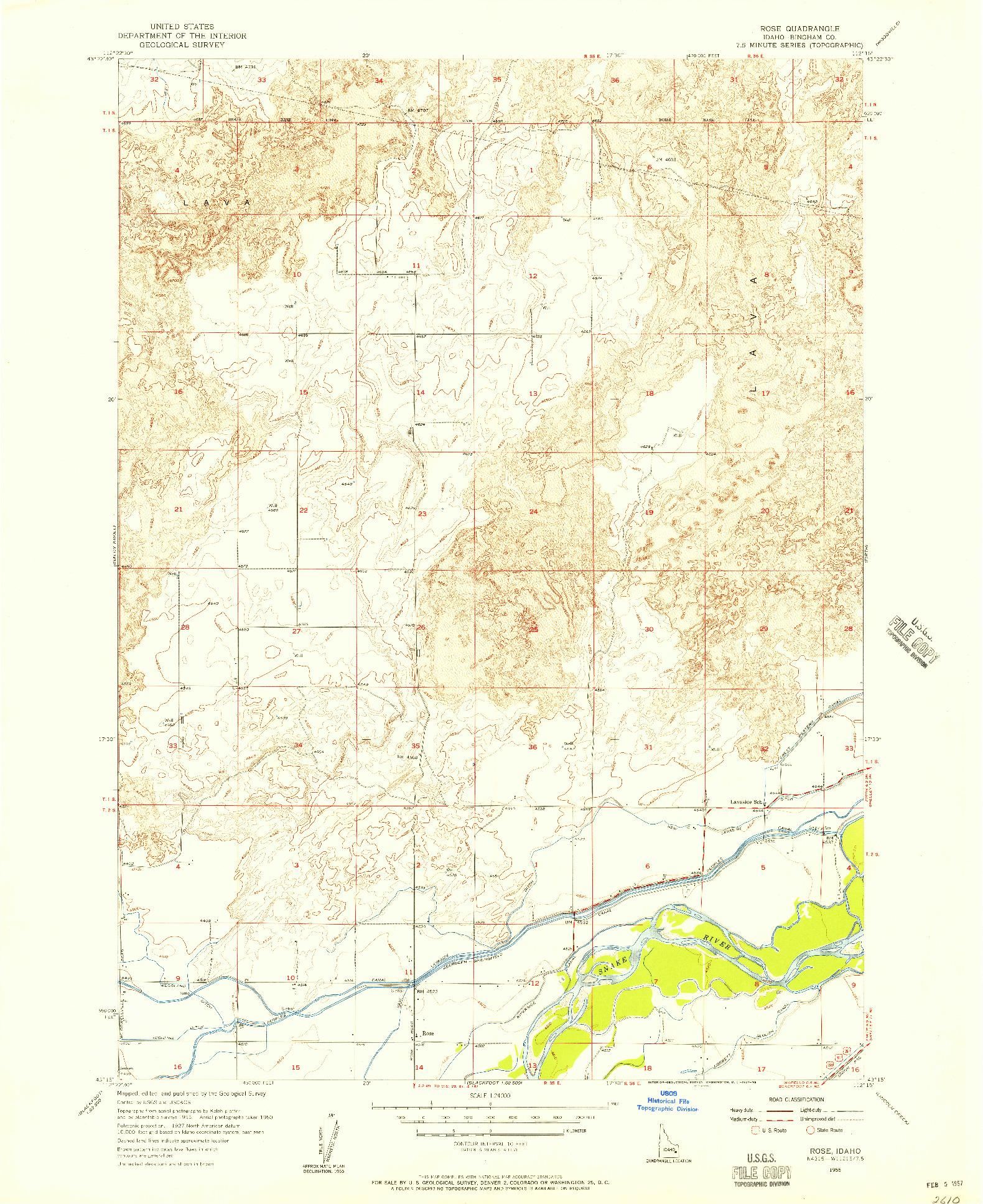 USGS 1:24000-SCALE QUADRANGLE FOR ROSE, ID 1955