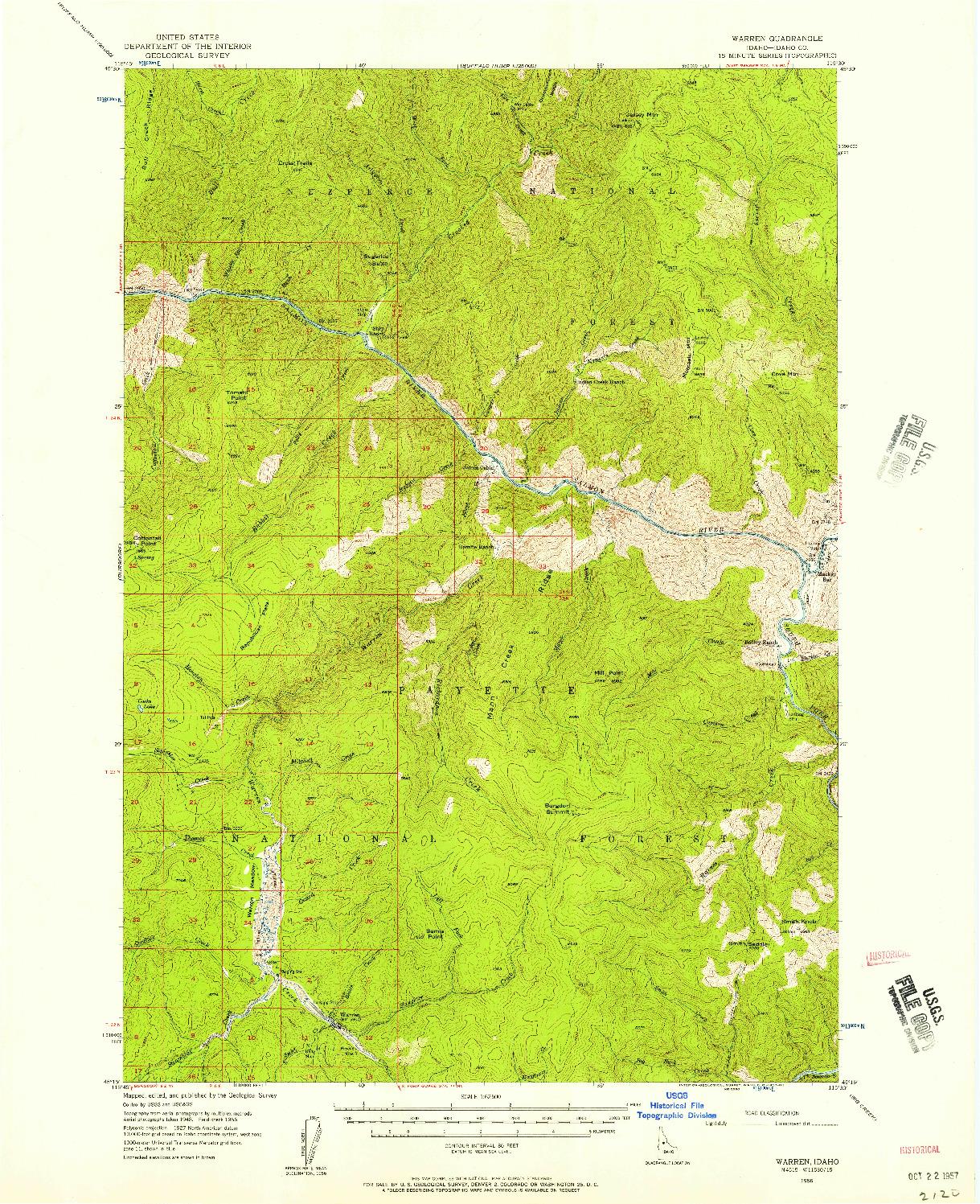 USGS 1:62500-SCALE QUADRANGLE FOR WARREN, ID 1956