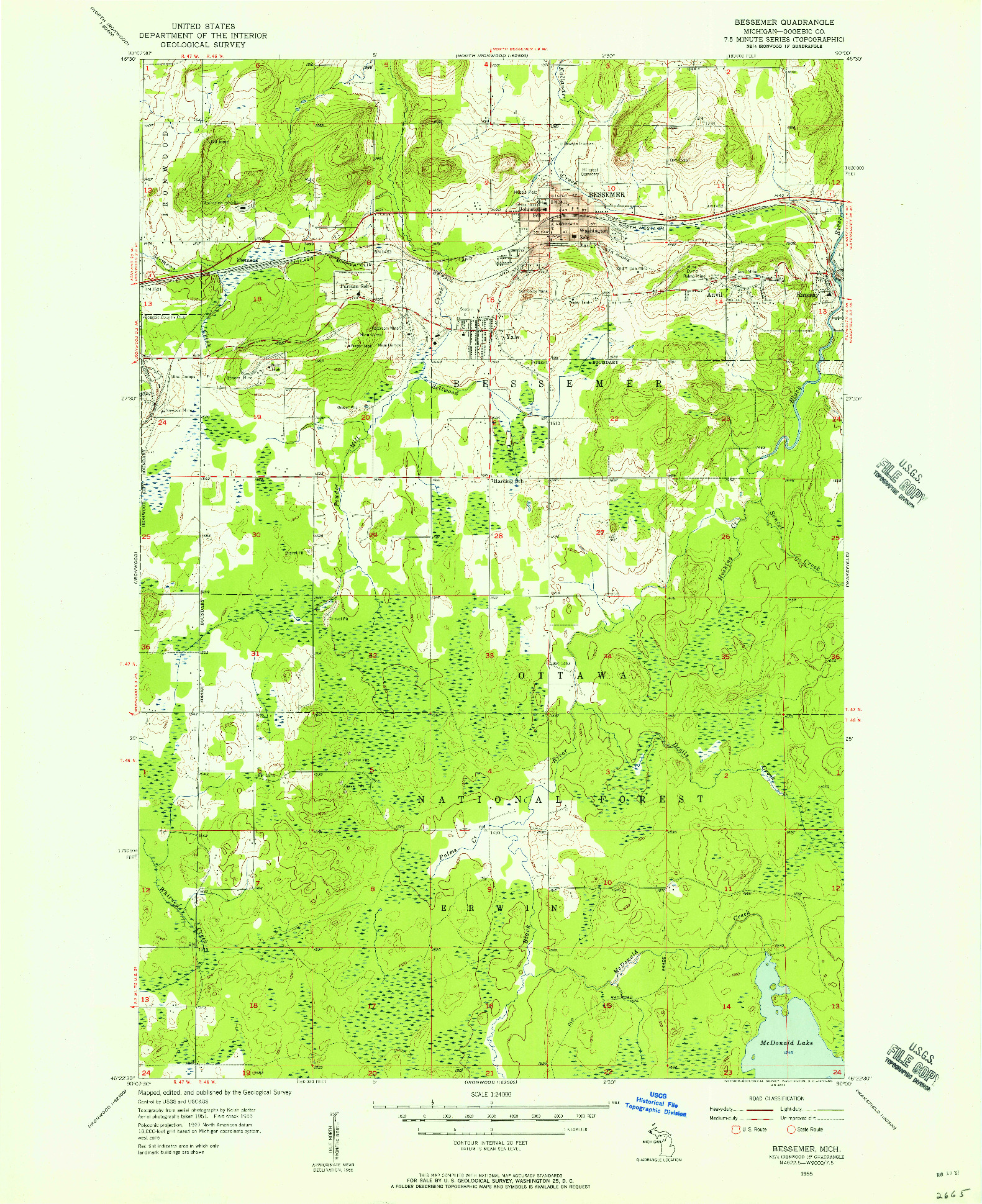 USGS 1:24000-SCALE QUADRANGLE FOR BESSEMER, MI 1955