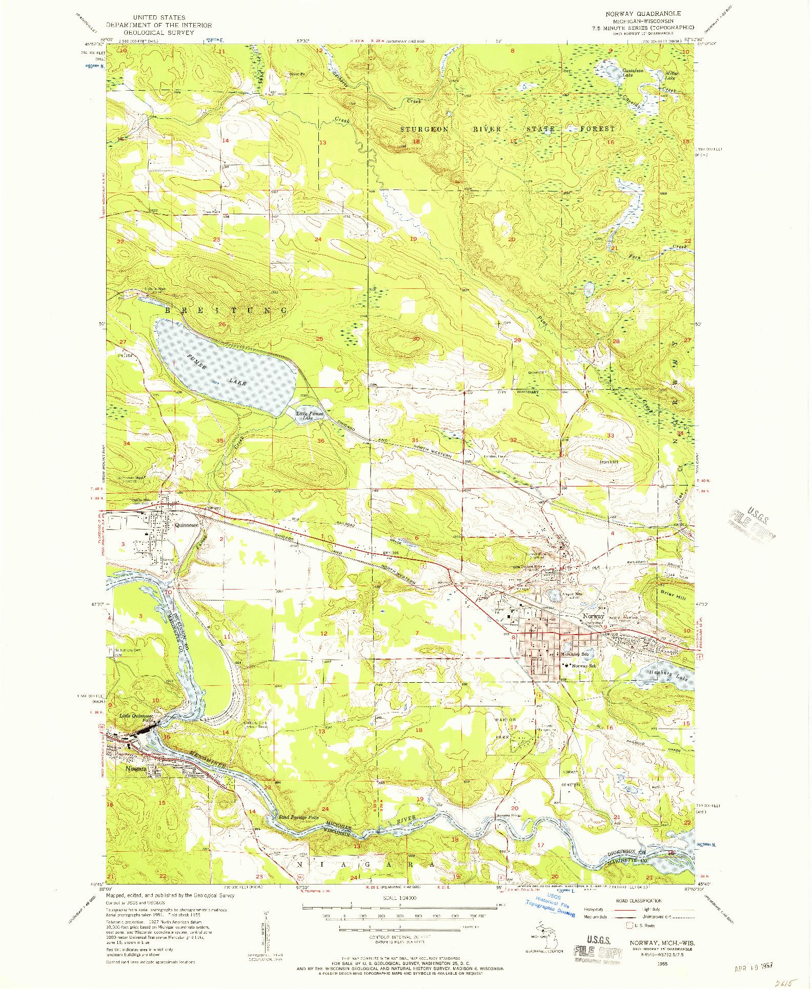 USGS 1:24000-SCALE QUADRANGLE FOR NORWAY, MI 1955