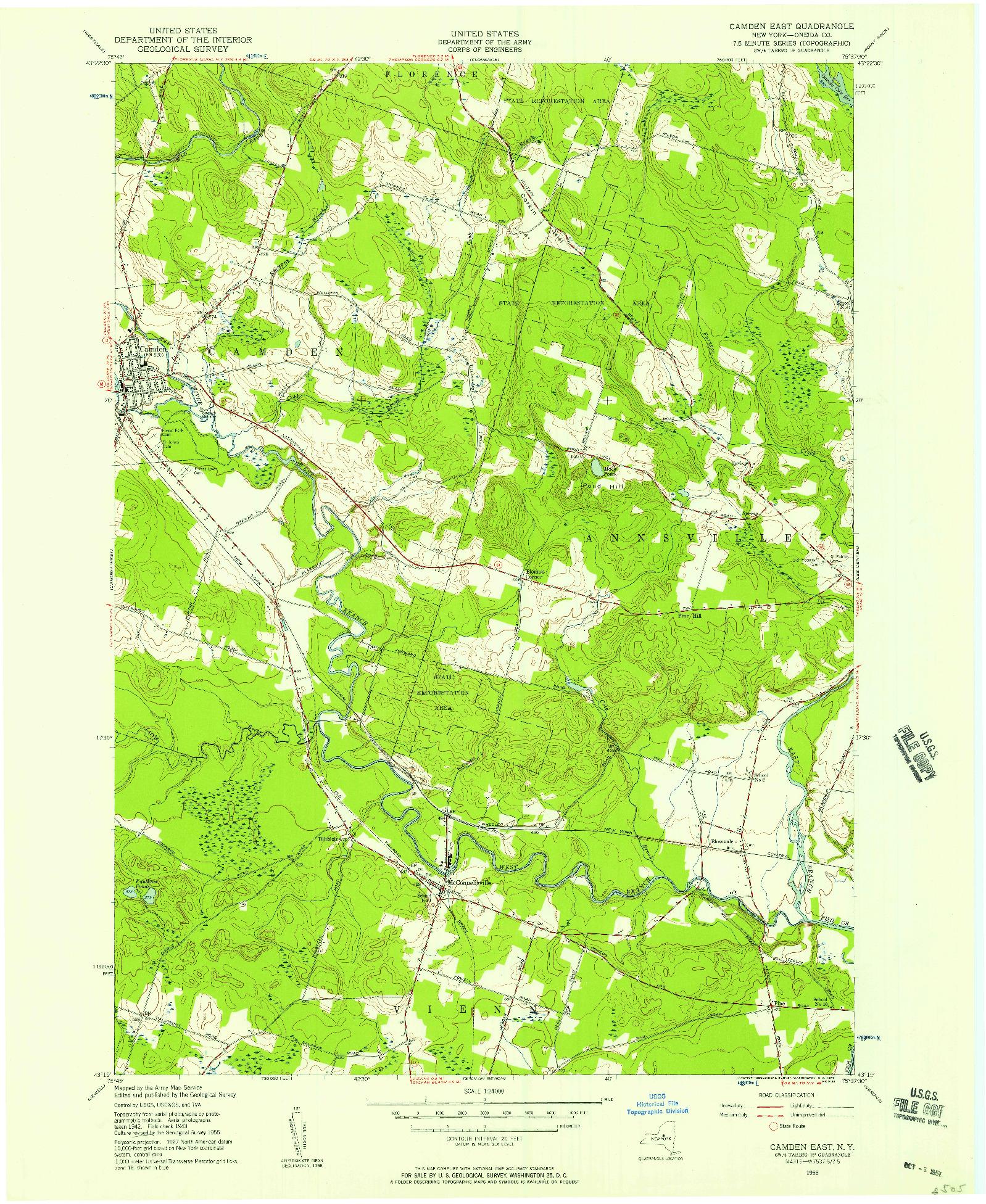 USGS 1:24000-SCALE QUADRANGLE FOR CAMDEN EAST, NY 1955