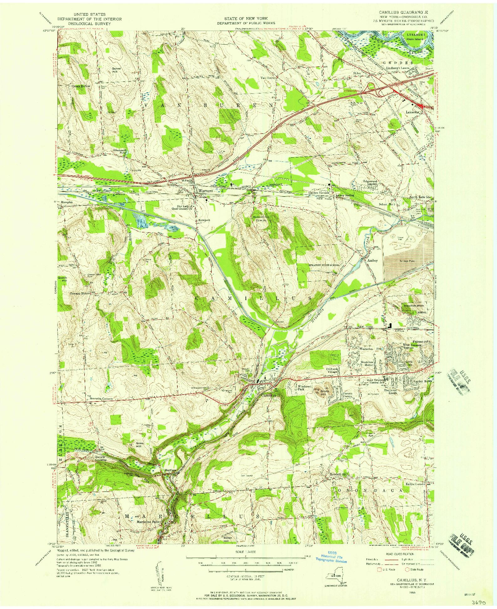 USGS 1:24000-SCALE QUADRANGLE FOR CAMILLUS, NY 1955