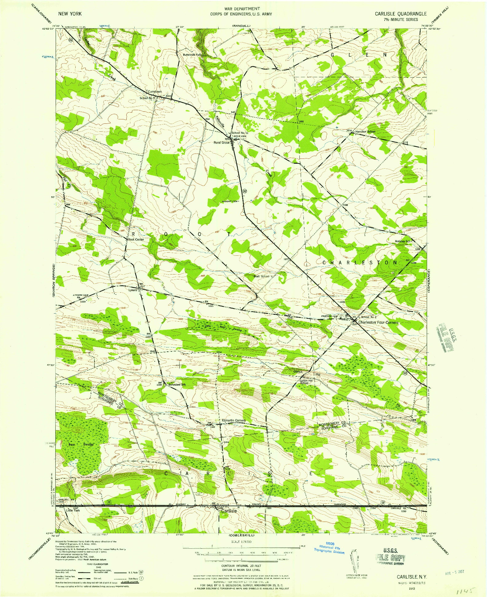 USGS 1:24000-SCALE QUADRANGLE FOR CARLISLE, NY 1943
