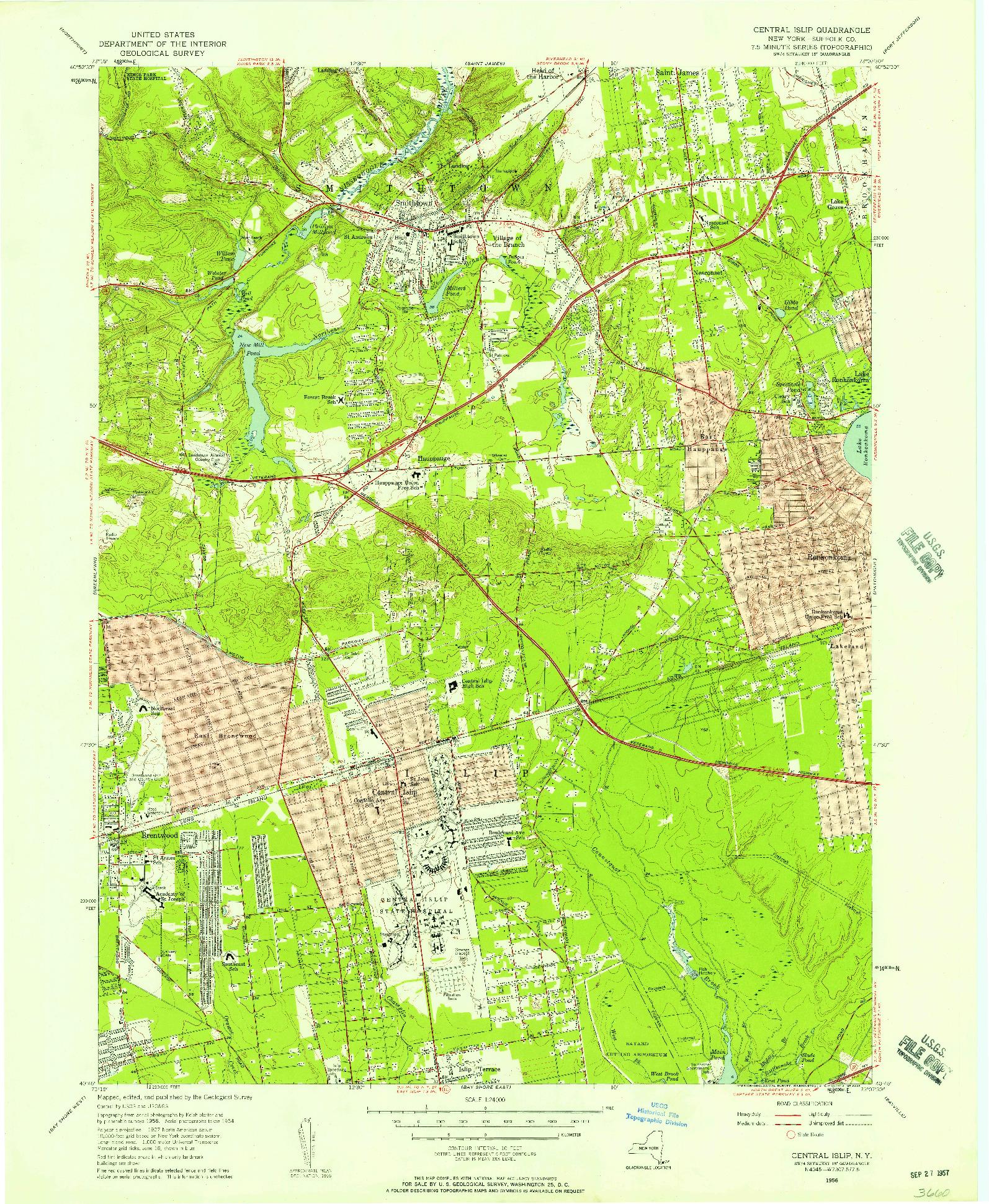 USGS 1:24000-SCALE QUADRANGLE FOR CENTRAL ISLIP, NY 1956