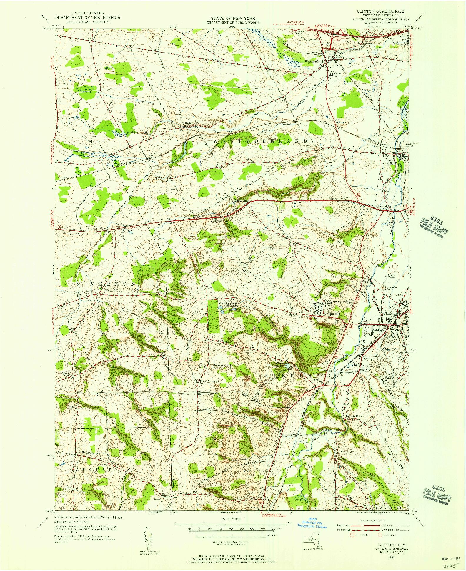 USGS 1:24000-SCALE QUADRANGLE FOR CLINTON, NY 1955