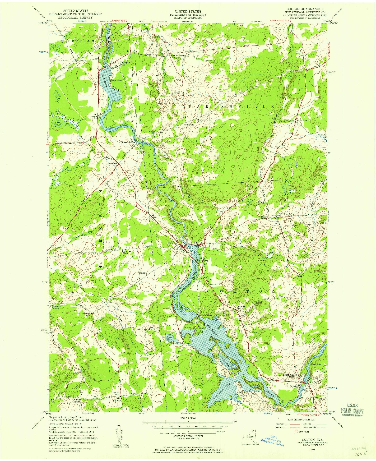 USGS 1:24000-SCALE QUADRANGLE FOR COLTON, NY 1943