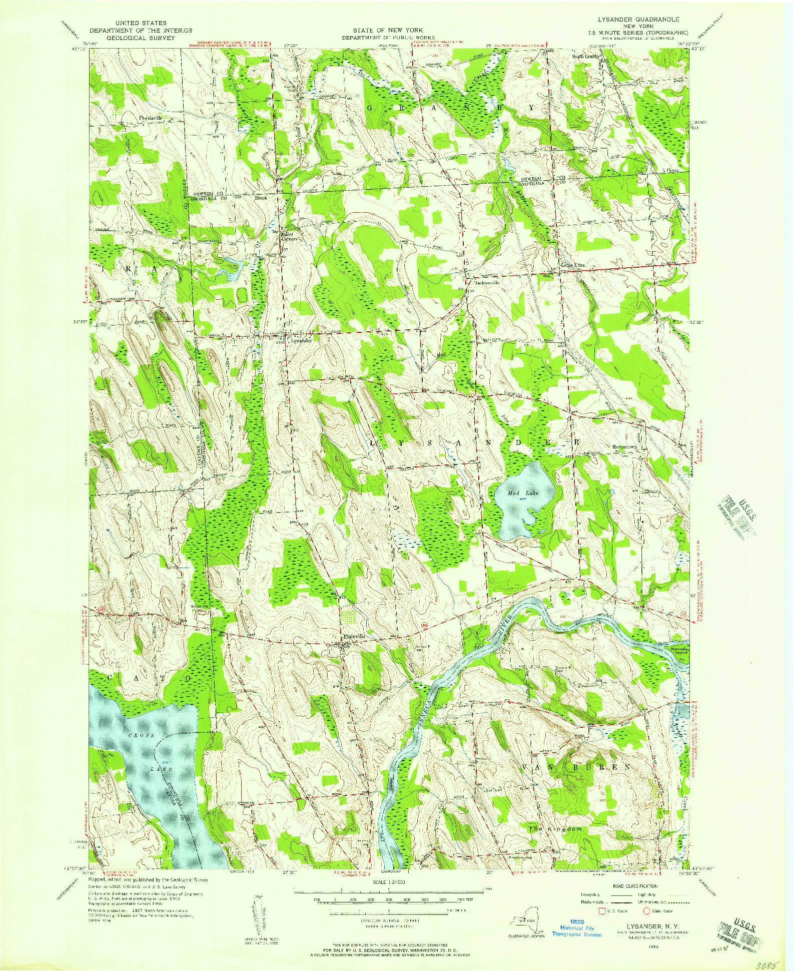 USGS 1:24000-SCALE QUADRANGLE FOR LYSANDER, NY 1955