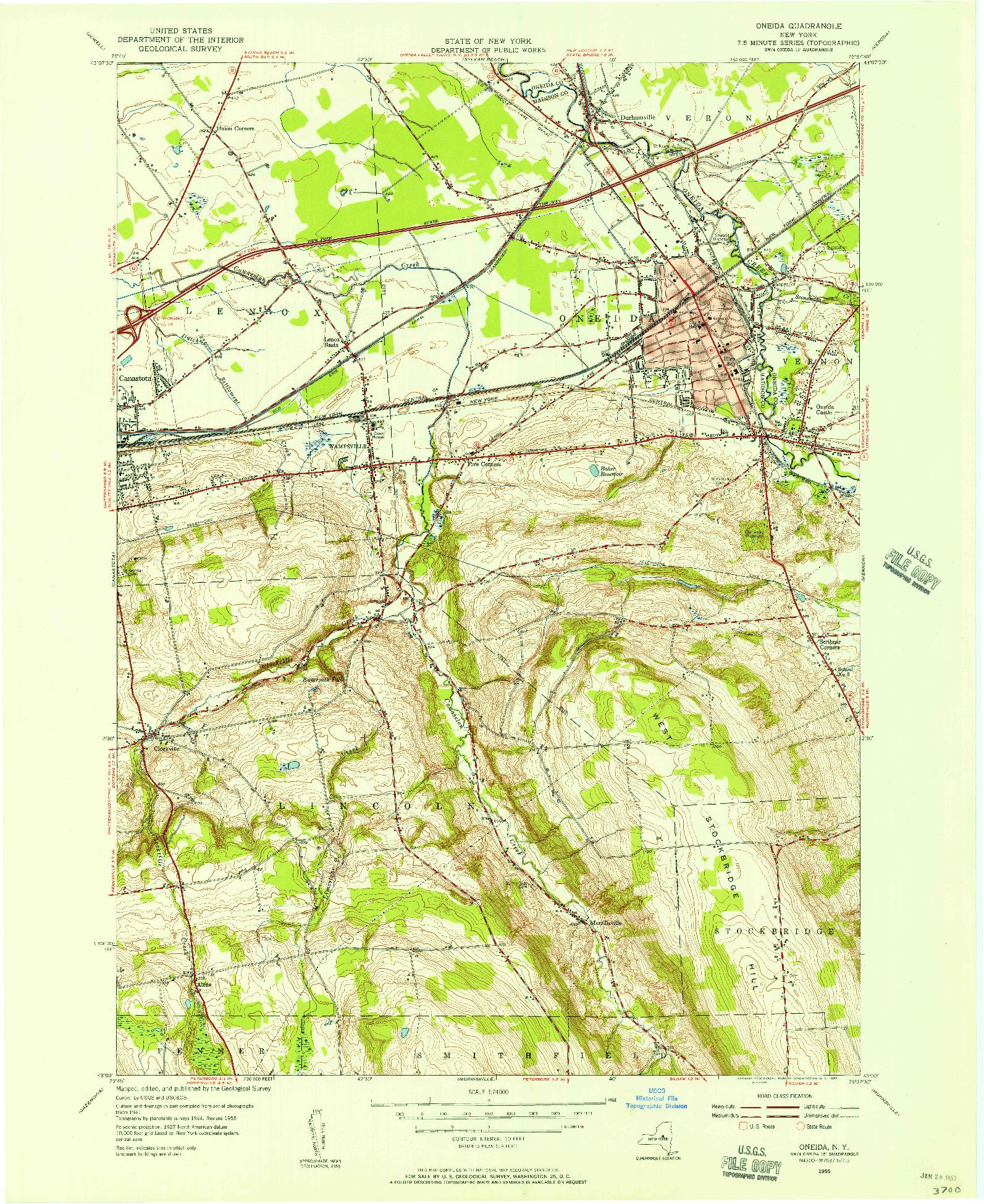 USGS 1:24000-SCALE QUADRANGLE FOR ONEIDA, NY 1955