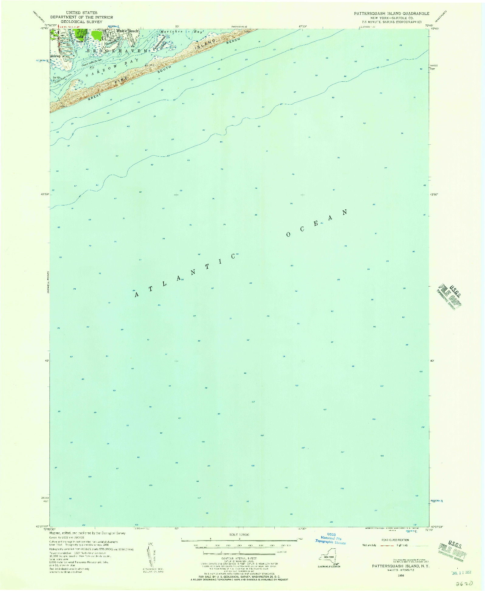 USGS 1:24000-SCALE QUADRANGLE FOR PATTERSQUASH ISLAND, NY 1956