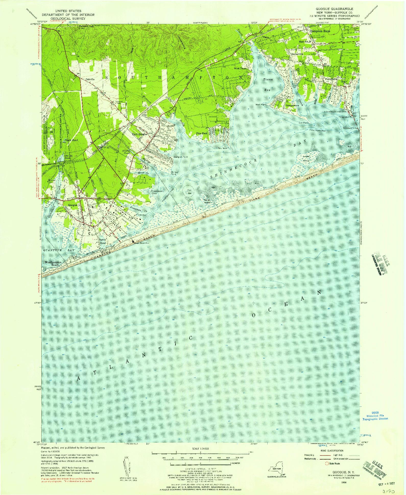USGS 1:24000-SCALE QUADRANGLE FOR QUOGUE, NY 1956