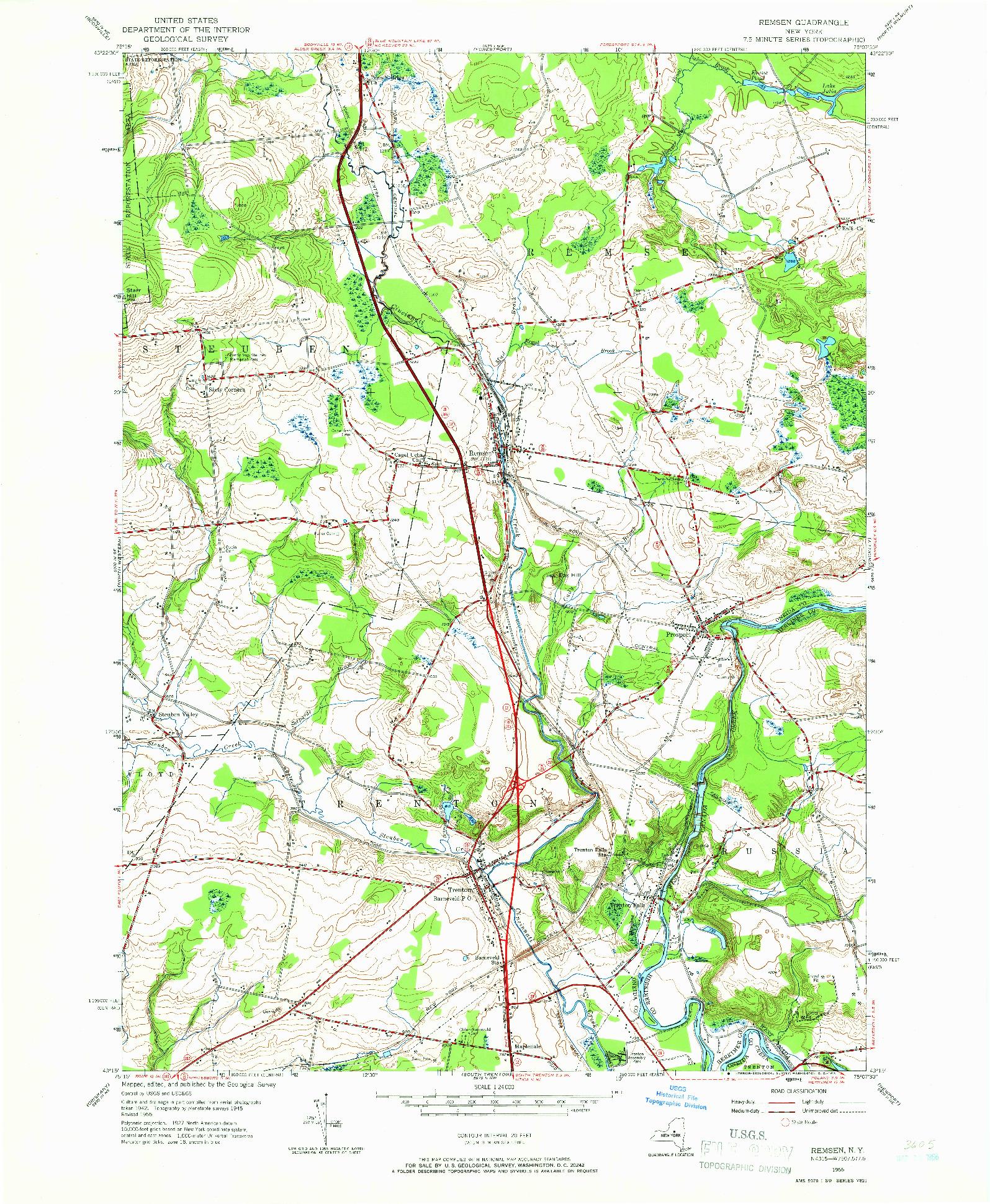 USGS 1:24000-SCALE QUADRANGLE FOR REMSEN, NY 1955