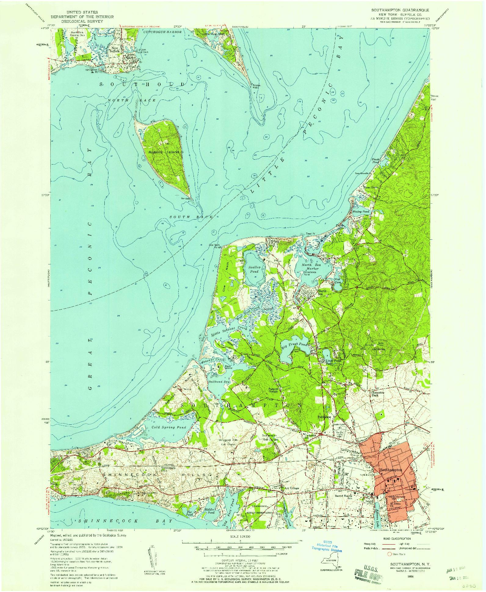 USGS 1:24000-SCALE QUADRANGLE FOR SOUTHAMPTON, NY 1956