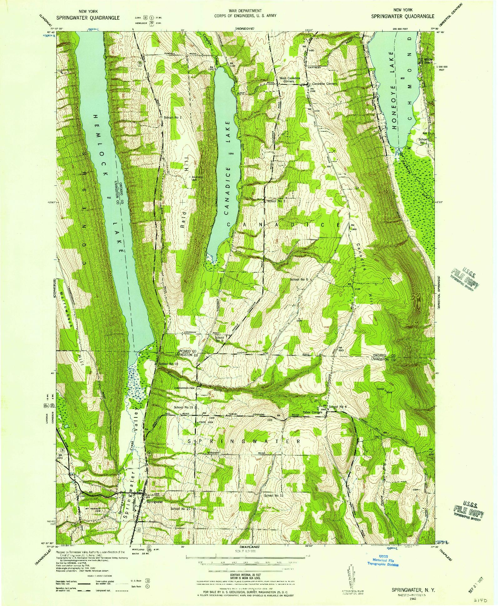 USGS 1:24000-SCALE QUADRANGLE FOR SPRINGWATER, NY 1942