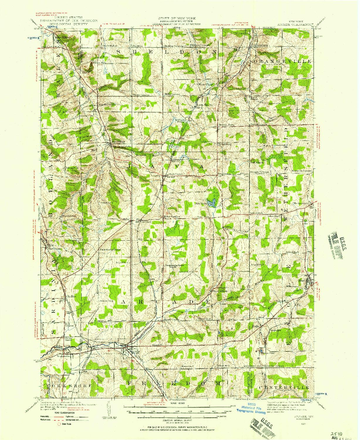 USGS 1:62500-SCALE QUADRANGLE FOR ARCADE, NY 1923