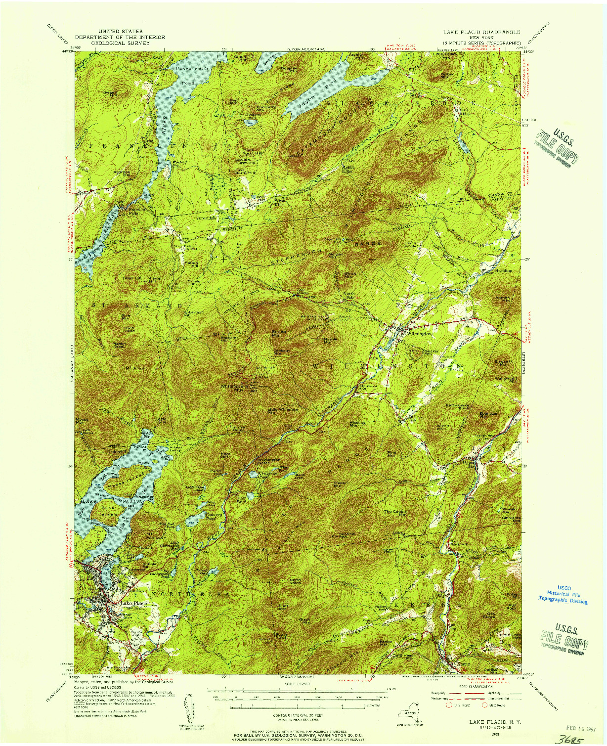 USGS 1:62500-SCALE QUADRANGLE FOR LAKE PLACID, NY 1953