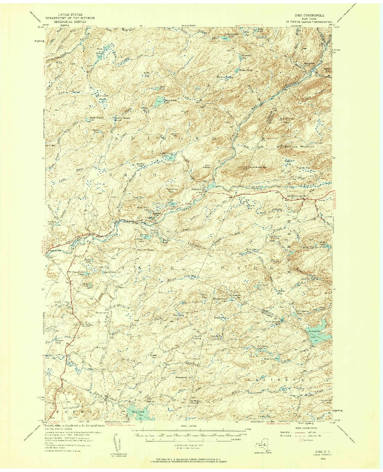 USGS 1:62500-SCALE QUADRANGLE FOR OHIO, NY 1954