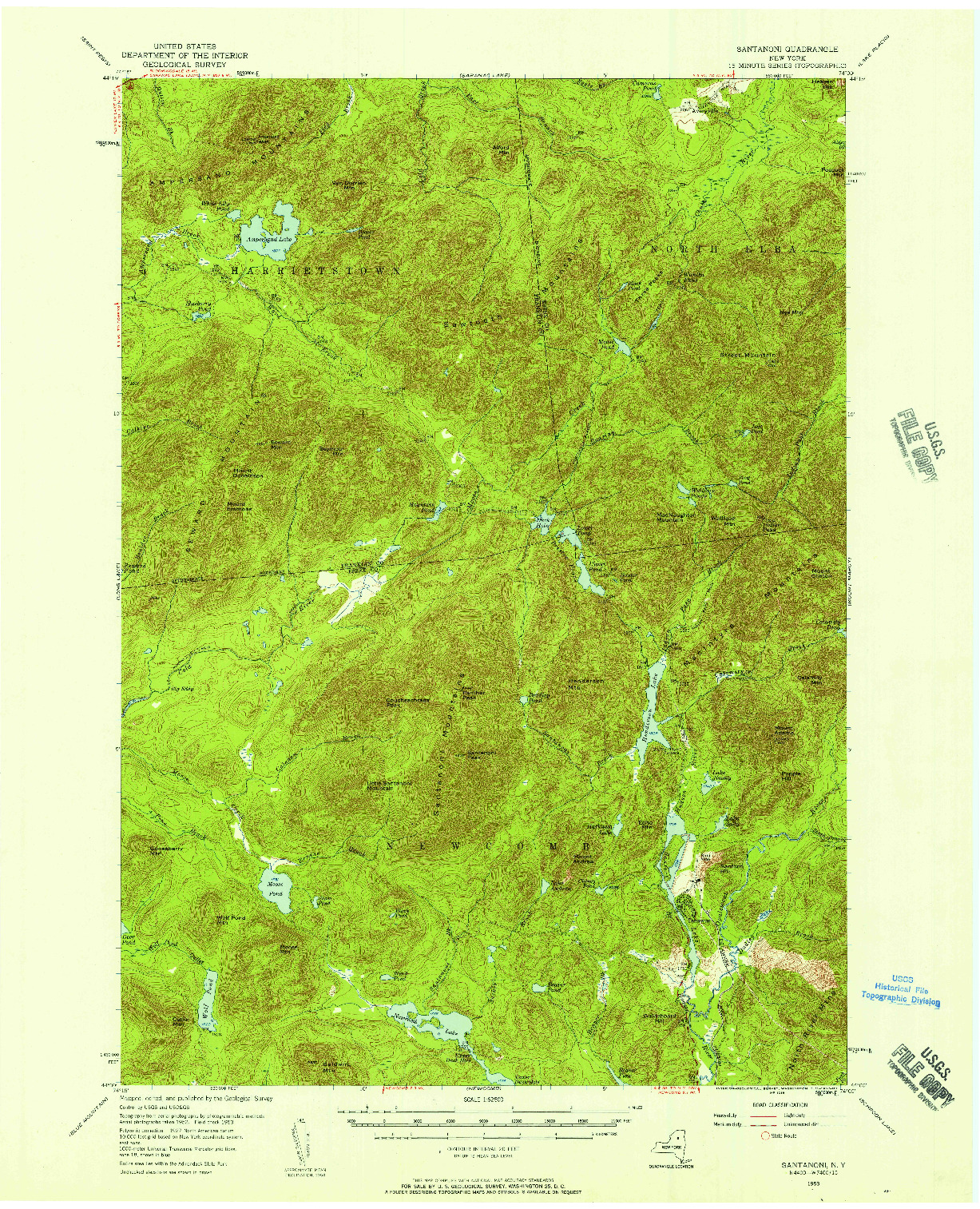 USGS 1:62500-SCALE QUADRANGLE FOR SANTANONI, NY 1953