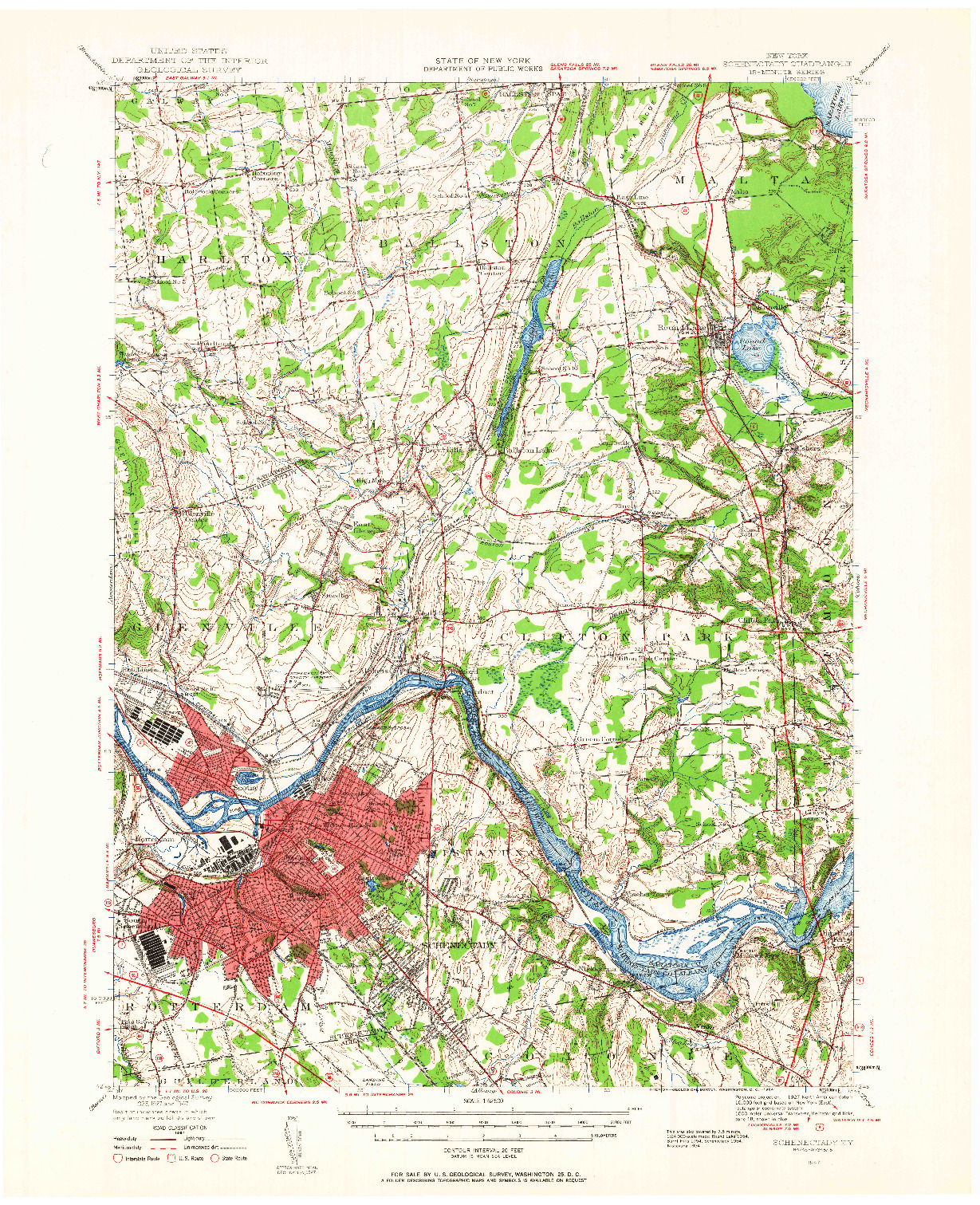 USGS 1:62500-SCALE QUADRANGLE FOR SCHENECTADY, NY 1954