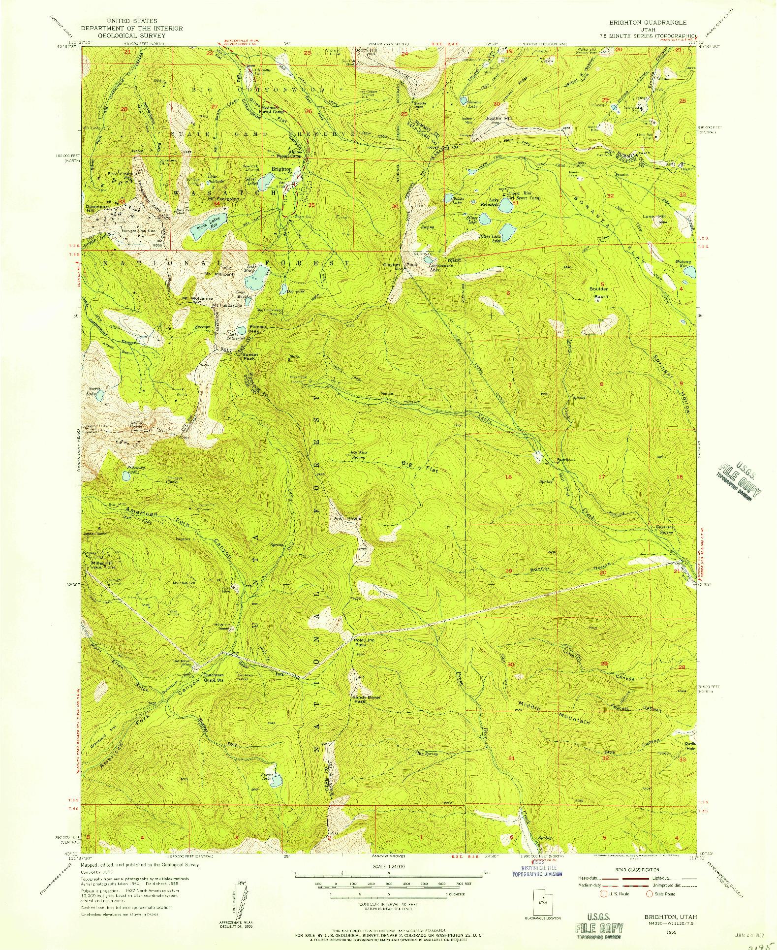 USGS 1:24000-SCALE QUADRANGLE FOR BRIGHTON, UT 1955
