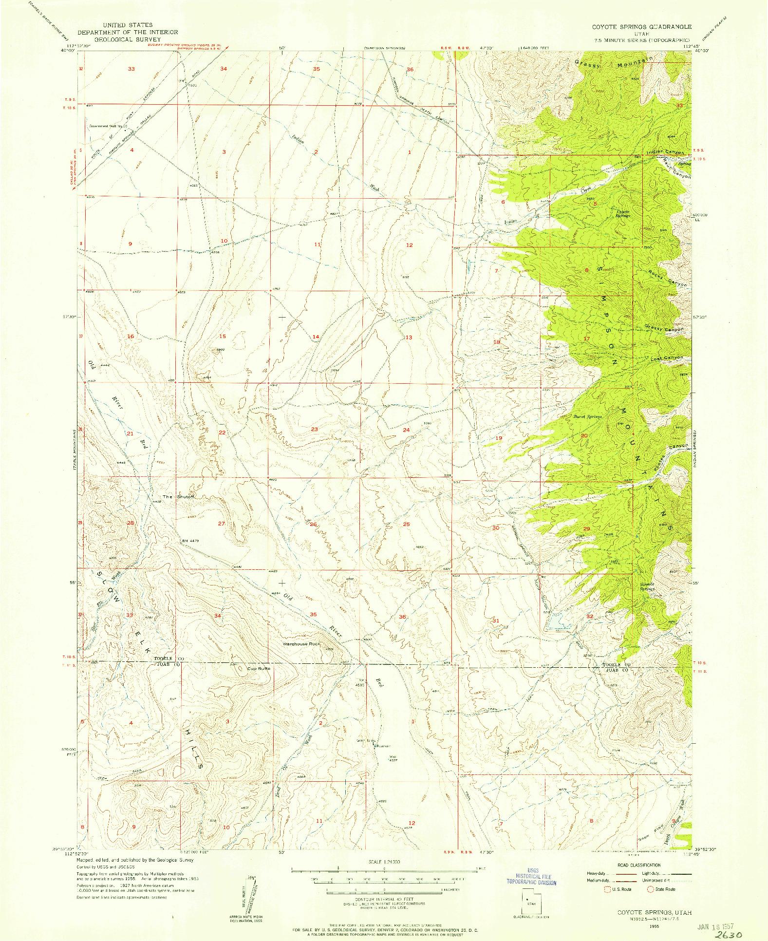 USGS 1:24000-SCALE QUADRANGLE FOR COYOTE SPRINGS, UT 1955