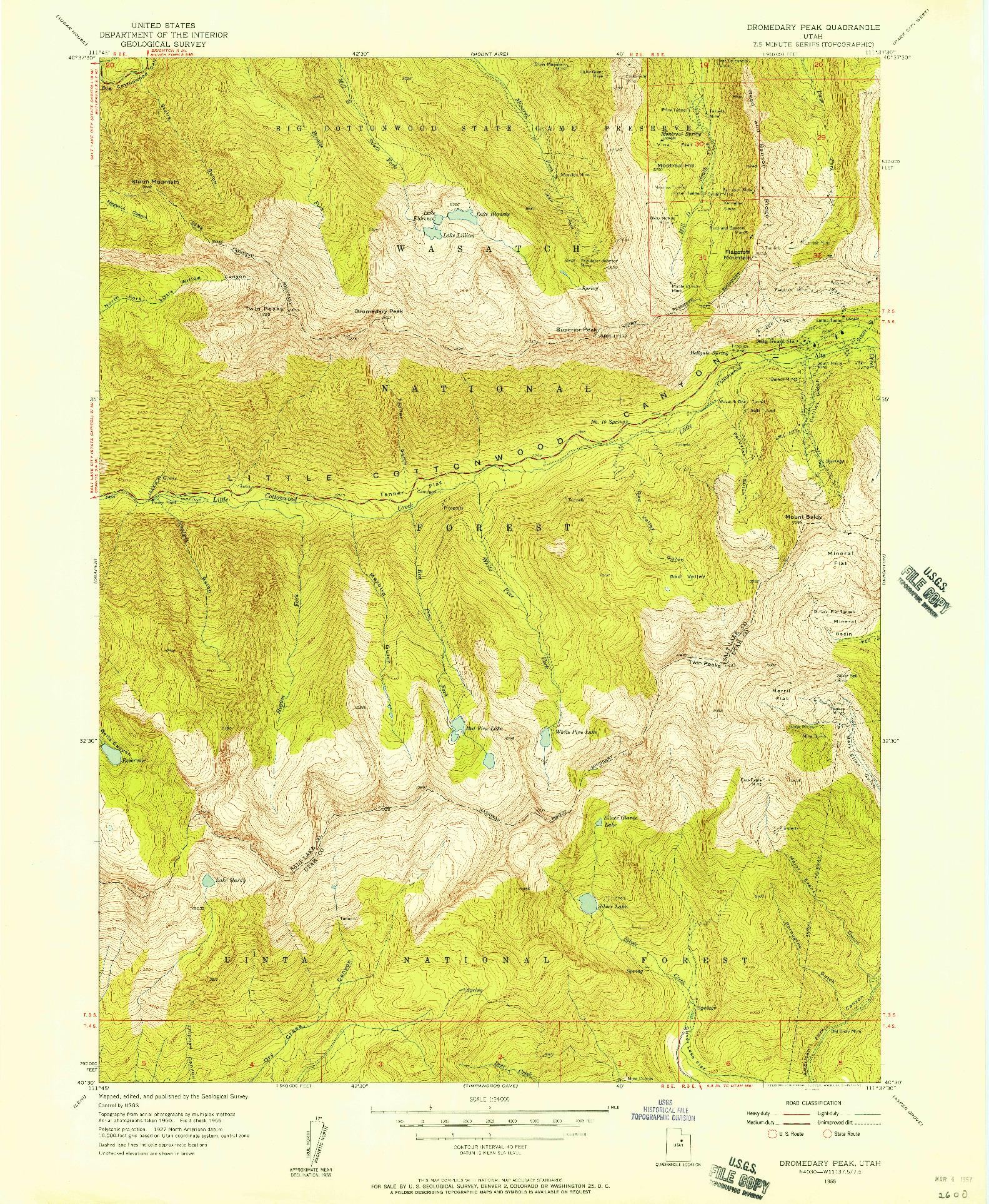 USGS 1:24000-SCALE QUADRANGLE FOR DROMEDARY PEAK, UT 1955
