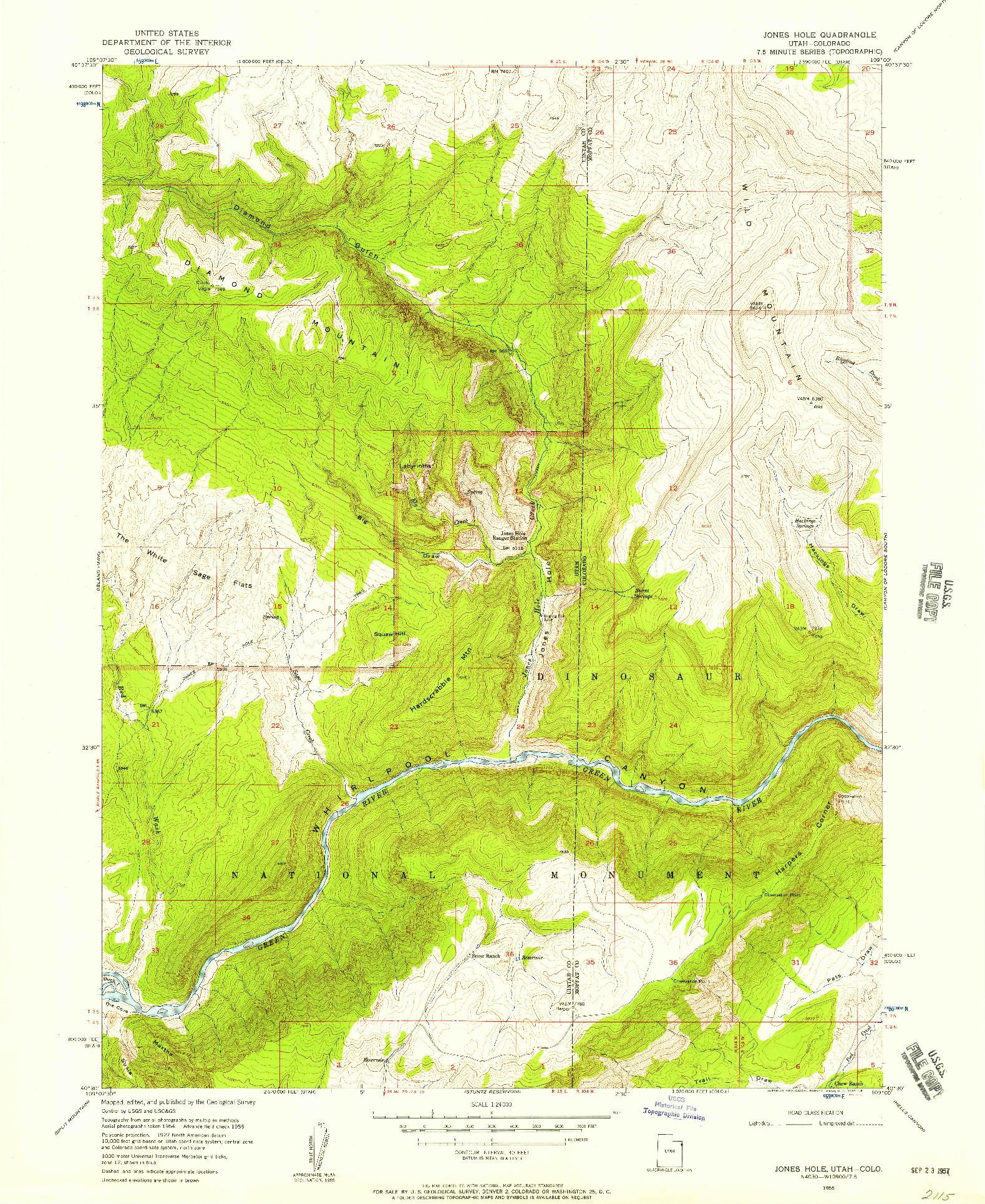 USGS 1:24000-SCALE QUADRANGLE FOR JONES HOLE, UT 1955