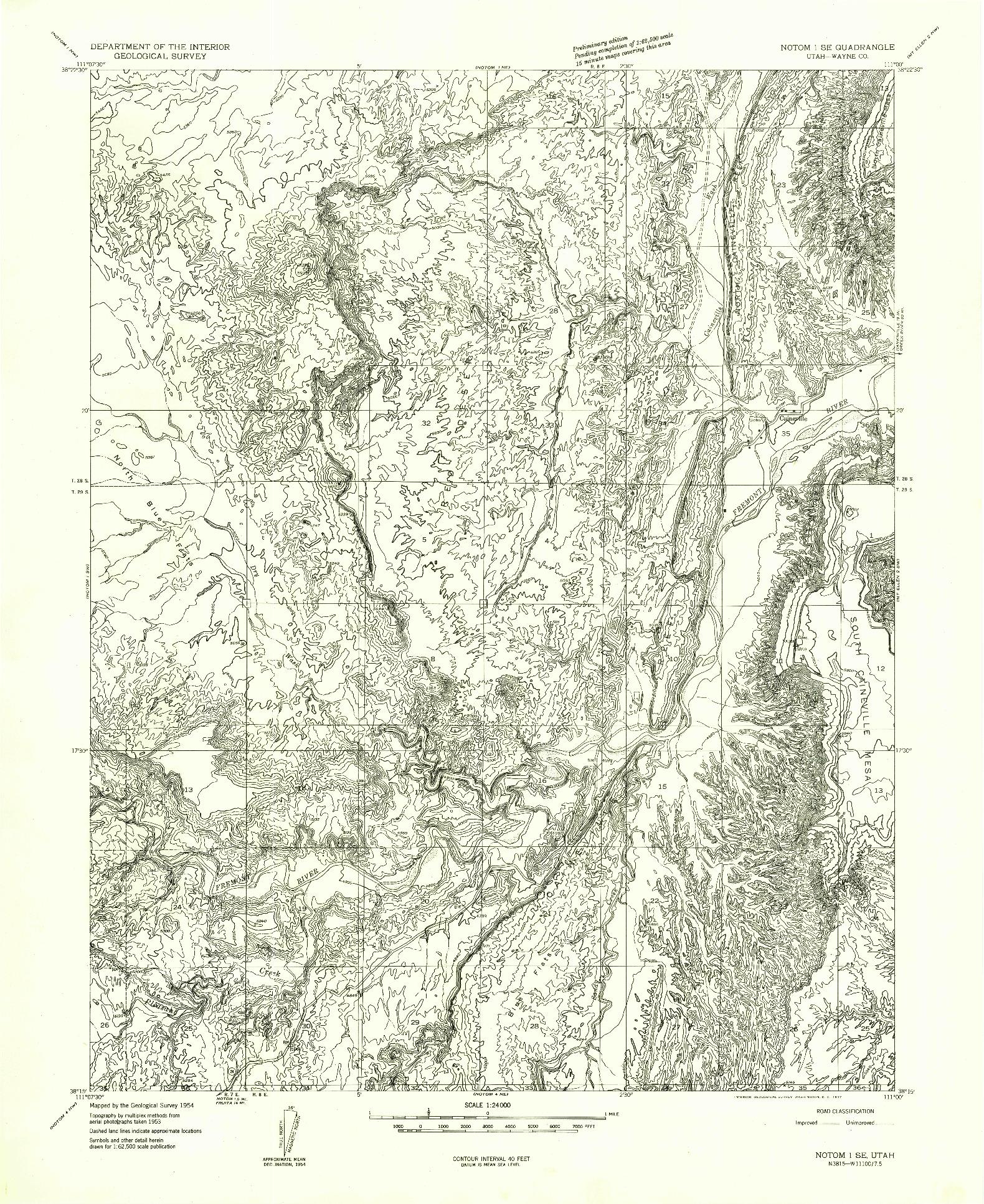USGS 1:24000-SCALE QUADRANGLE FOR NOTOM 1 SE, UT 1954